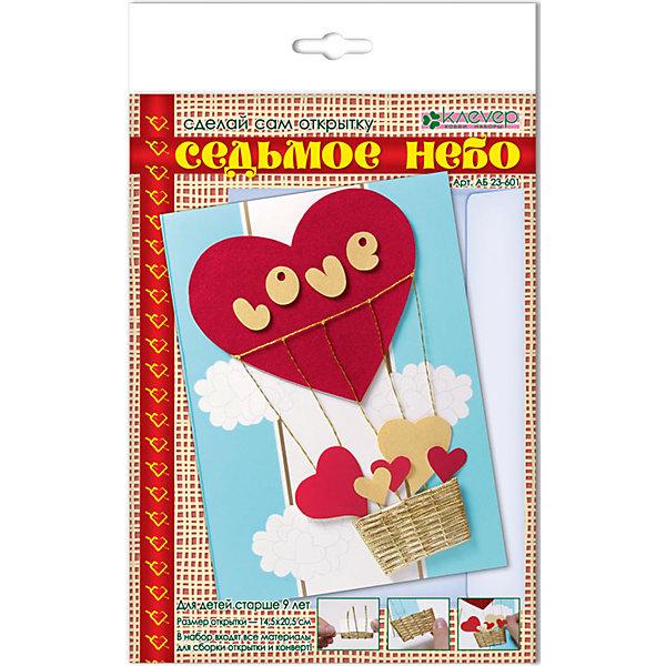Набор для изготовления открытки Седьмое небо, европодвесДетские открытки<br>Характеристики:<br><br>• Коллекция: объемная открытка<br>• Тематика: романтика<br>• Уровень сложности: средний<br>• Материал: бумага, скотч, шнур, нитки<br>• Комплектация: набор цветной бумаги, шнур, нитки, основа, скотч, инструкция<br>• Форма открытки: 3d<br>• Размеры готовой открытки (Ш*В): 14,5*20,4 см<br>• Размеры (Д*Ш*В): 17*28*5 см<br>• Вес: 37 г <br>• Упаковка: картонный конверт<br><br>Уникальность данных наборов заключается в том, что они состоят из материалов разных фактур. Благодаря использованию двухстороннего скотча, рабочее место и одежда ребенка не будет испачкана, а поделка будет выглядеть объемной и аккуратной.<br><br>Набор для изготовления открытки Седьмое небо, европодвес состоит из всех необходимых материалов и инструментов для создания поздравительной открытки с изображением красно-золотистых сердечек. <br><br>Набор для изготовления открытки Седьмое небо, европодвес можно купить в нашем интернет-магазине.<br><br>Ширина мм: 170<br>Глубина мм: 280<br>Высота мм: 50<br>Вес г: 37<br>Возраст от месяцев: 96<br>Возраст до месяцев: 144<br>Пол: Унисекс<br>Возраст: Детский<br>SKU: 5541582