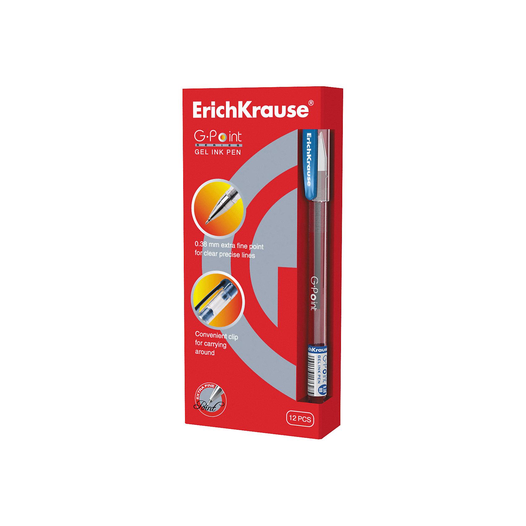 Ручка гелевая G-POINT, 12 шт., Erich KrauseУдобная гелевая ручка с прозрачным корпусом для контроля уровня чернил. Металлизированный наконечник. Пишущий узел 0.38 ммобеспечивает тонкое и четкое письмо. Цвет клипа соответствует цвету чернил. Сменный стержень. Рекомендуется использовать стержень ErichKrause G-POINT.<br><br>Ширина мм: 70<br>Глубина мм: 155<br>Высота мм: 250<br>Вес г: 120<br>Возраст от месяцев: 84<br>Возраст до месяцев: 2147483647<br>Пол: Унисекс<br>Возраст: Детский<br>SKU: 5543299