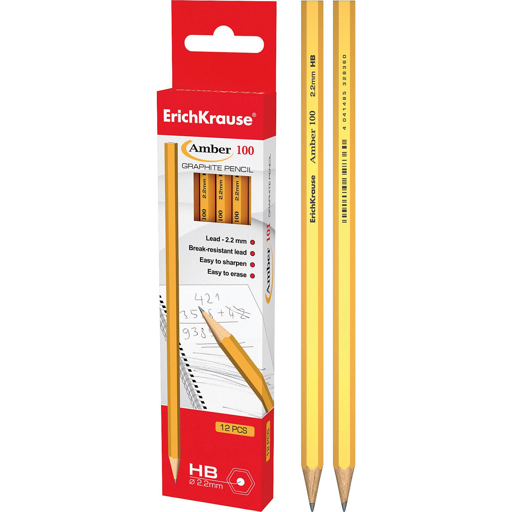 Чернографитный карандаш AMBER 100 (HB) шестигранный, 12 шт., Erich KrauseПисьменные принадлежности<br>Чернографитный карандаш AMBER 100 (HB) шестигранный, 12 шт., Erich Krause.<br><br>Характеристики:<br><br>• Количество: 12 шт.<br>• Материал корпуса: древесина<br>• Цвет корпуса: желтый<br>• Диаметр грифеля: 2,2 мм.<br>• Твердость грифеля: НВ<br>• Длина карандаша: 17 см.<br><br>Чернографитные карандаши Erich Krause Amber 100 - идеальный инструмент для письма, рисования и черчения. Шестигранный корпус выполнен из древесины. Высококачественный ударопрочный грифель не крошится и не ломается при заточке. В набор входят 12 чернографитных заточенных карандаша твердостью НВ. <br><br>Чернографитный карандаш AMBER 100 (HB) шестигранный, 12 шт., Erich Krause можно купить в нашем интернет-магазине.<br><br>Ширина мм: 45<br>Глубина мм: 220<br>Высота мм: 150<br>Вес г: 120<br>Возраст от месяцев: 84<br>Возраст до месяцев: 2147483647<br>Пол: Унисекс<br>Возраст: Детский<br>SKU: 5543303