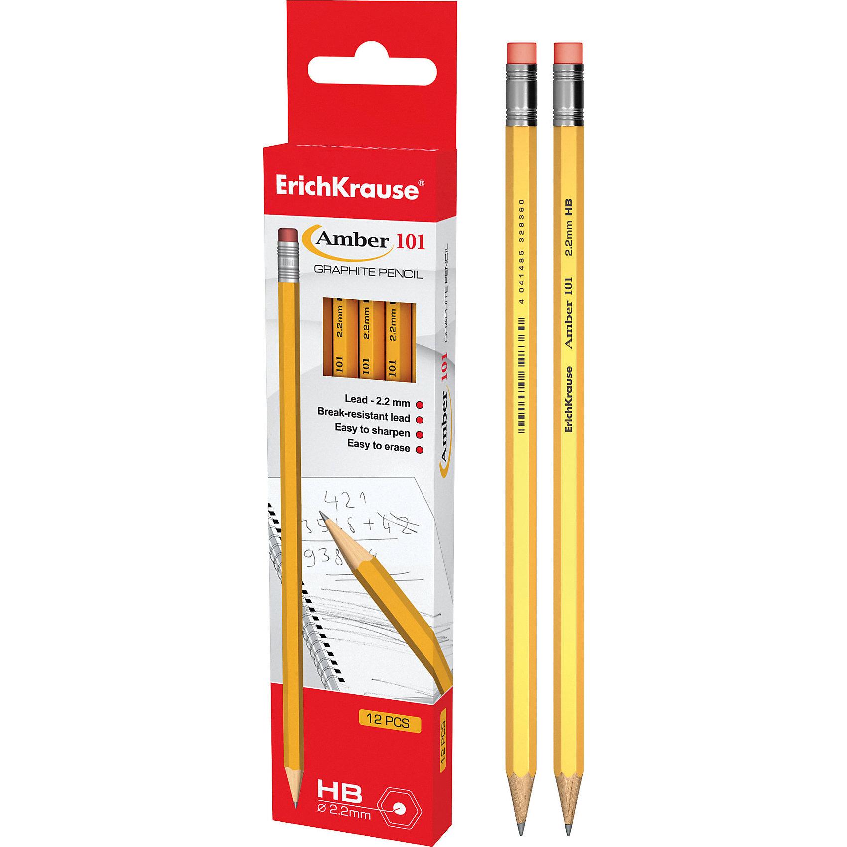 Чернографитный карандаш AMBER 101 (HB) шестигранный с ластиком, 12 шт., Erich KrauseПисьменные принадлежности<br>Чернографитный карандаш AMBER 101 (HB) шестигранный с ластиком, 12 шт., Erich Krause.<br><br>Характеристики:<br><br>• Количество: 12 шт.<br>• Материал корпуса: древесина<br>• Цвет корпуса: желтый<br>• Диаметр грифеля: 2,2 мм.<br>• Твердость грифеля: НВ<br>• Длина карандаша: 17 см.<br><br>Чернографитные карандаши Erich Krause Amber 101 - идеальный инструмент для письма, рисования и черчения. Шестигранный корпус выполнен из древесины. Высококачественный ударопрочный грифель не крошится и не ломается при заточке. В набор входят 12 чернографитных заточенных карандаша твердостью НВ с ластиком на конце.<br><br>Чернографитный карандаш AMBER 101 (HB) шестигранный с ластиком, 12 шт., Erich Krause можно купить в нашем интернет-магазине.<br><br>Ширина мм: 45<br>Глубина мм: 220<br>Высота мм: 150<br>Вес г: 120<br>Возраст от месяцев: 84<br>Возраст до месяцев: 2147483647<br>Пол: Унисекс<br>Возраст: Детский<br>SKU: 5543304