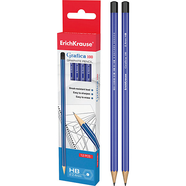 Чернографитный карандаш GRAFICA 100 (HB) шестигранный, 12 шт., Erich KrauseПисьменные принадлежности<br>Чернографитный карандаш GRAFICA 100 (HB) шестигранный, 12 шт., Erich Krause.<br><br>Характеристики:<br><br>• Количество: 12 шт.<br>• Материал корпуса: древесина<br>• Диаметр грифеля: 2,4 мм.<br>• Твердость грифеля: НВ<br>• Длина карандаша: 17 см.<br><br>Чернографитные карандаши Erich Krause GRAFICA 100 - идеальный инструмент для письма, рисования и черчения. Шестигранный корпус с белыми и синими полосками выполнен из древесины. Высококачественный ударопрочный грифель не крошится и не ломается при заточке. В набор входят 12 чернографитных заточенных карандаша твердостью НВ. Торец карандашей заглушен.<br><br>Чернографитный карандаш GRAFICA 100 (HB) шестигранный, 12 шт., Erich Krause можно купить в нашем интернет-магазине.<br>Ширина мм: 45; Глубина мм: 220; Высота мм: 150; Вес г: 120; Возраст от месяцев: 84; Возраст до месяцев: 2147483647; Пол: Унисекс; Возраст: Детский; SKU: 5543305;
