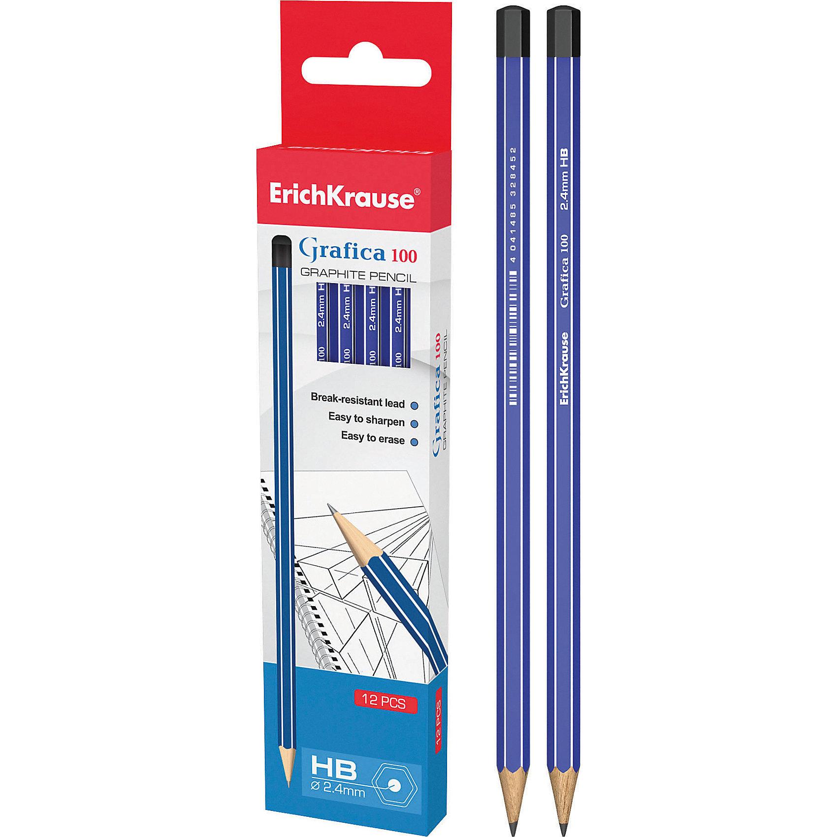 Чернографитный карандаш GRAFICA 100 (HB) шестигранный, 12 шт., Erich KrauseПисьменные принадлежности<br>Чернографитный карандаш GRAFICA 100 (HB) шестигранный, 12 шт., Erich Krause.<br><br>Характеристики:<br><br>• Количество: 12 шт.<br>• Материал корпуса: древесина<br>• Диаметр грифеля: 2,4 мм.<br>• Твердость грифеля: НВ<br>• Длина карандаша: 17 см.<br><br>Чернографитные карандаши Erich Krause GRAFICA 100 - идеальный инструмент для письма, рисования и черчения. Шестигранный корпус с белыми и синими полосками выполнен из древесины. Высококачественный ударопрочный грифель не крошится и не ломается при заточке. В набор входят 12 чернографитных заточенных карандаша твердостью НВ. Торец карандашей заглушен.<br><br>Чернографитный карандаш GRAFICA 100 (HB) шестигранный, 12 шт., Erich Krause можно купить в нашем интернет-магазине.<br><br>Ширина мм: 45<br>Глубина мм: 220<br>Высота мм: 150<br>Вес г: 120<br>Возраст от месяцев: 84<br>Возраст до месяцев: 2147483647<br>Пол: Унисекс<br>Возраст: Детский<br>SKU: 5543305