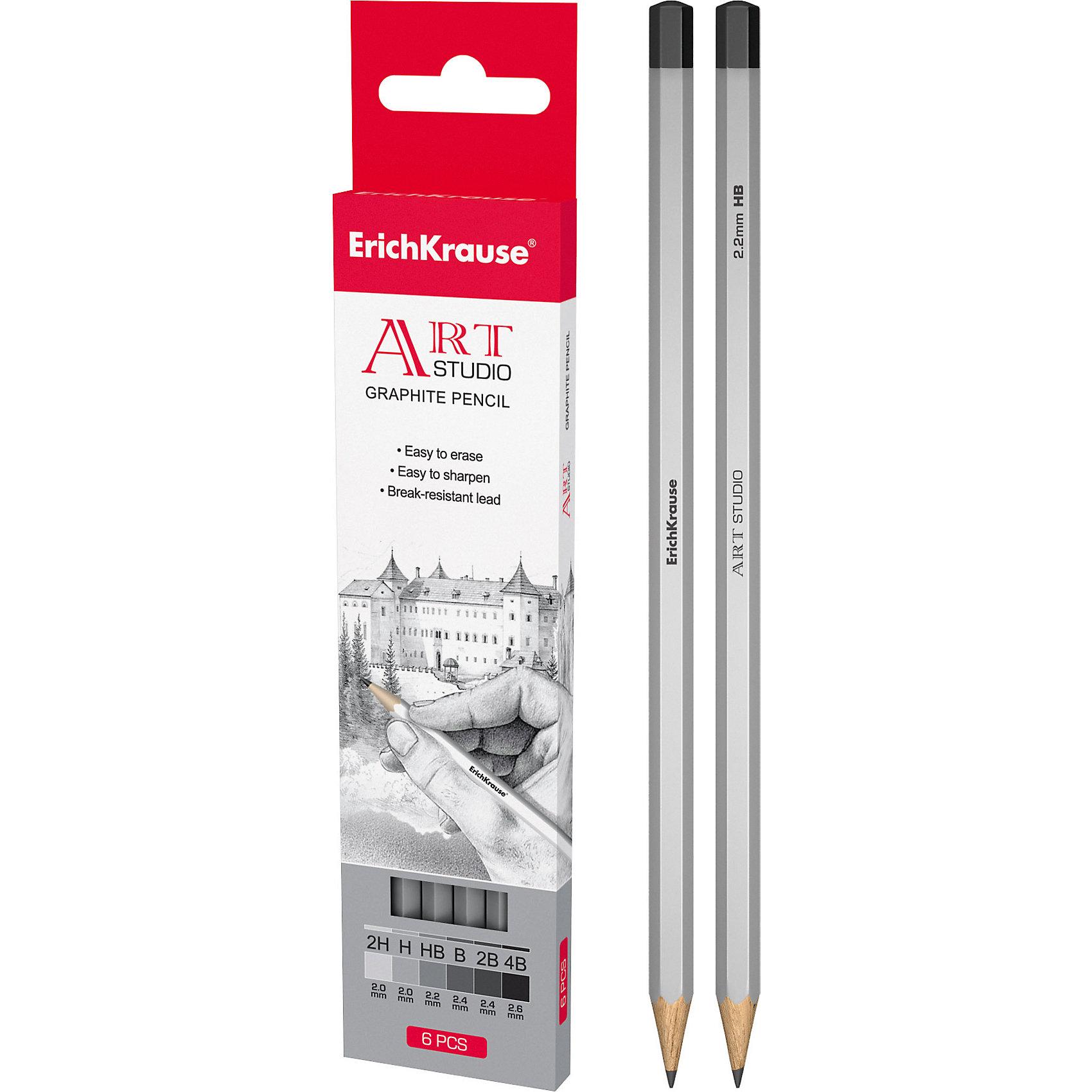 Чернографитный карандаш ART-STUDIO (2H,H,HB,B,2B,4B) шестигранный, 6 шт., Erich KrauseРисование<br>шестигранный карандаш, торец  заглушен, в наборе 6 карандашей разной твердости (2H+H+HB+B+2B+4B)<br><br>Ширина мм: 45<br>Глубина мм: 220<br>Высота мм: 150<br>Вес г: 120<br>Возраст от месяцев: 84<br>Возраст до месяцев: 2147483647<br>Пол: Унисекс<br>Возраст: Детский<br>SKU: 5543308