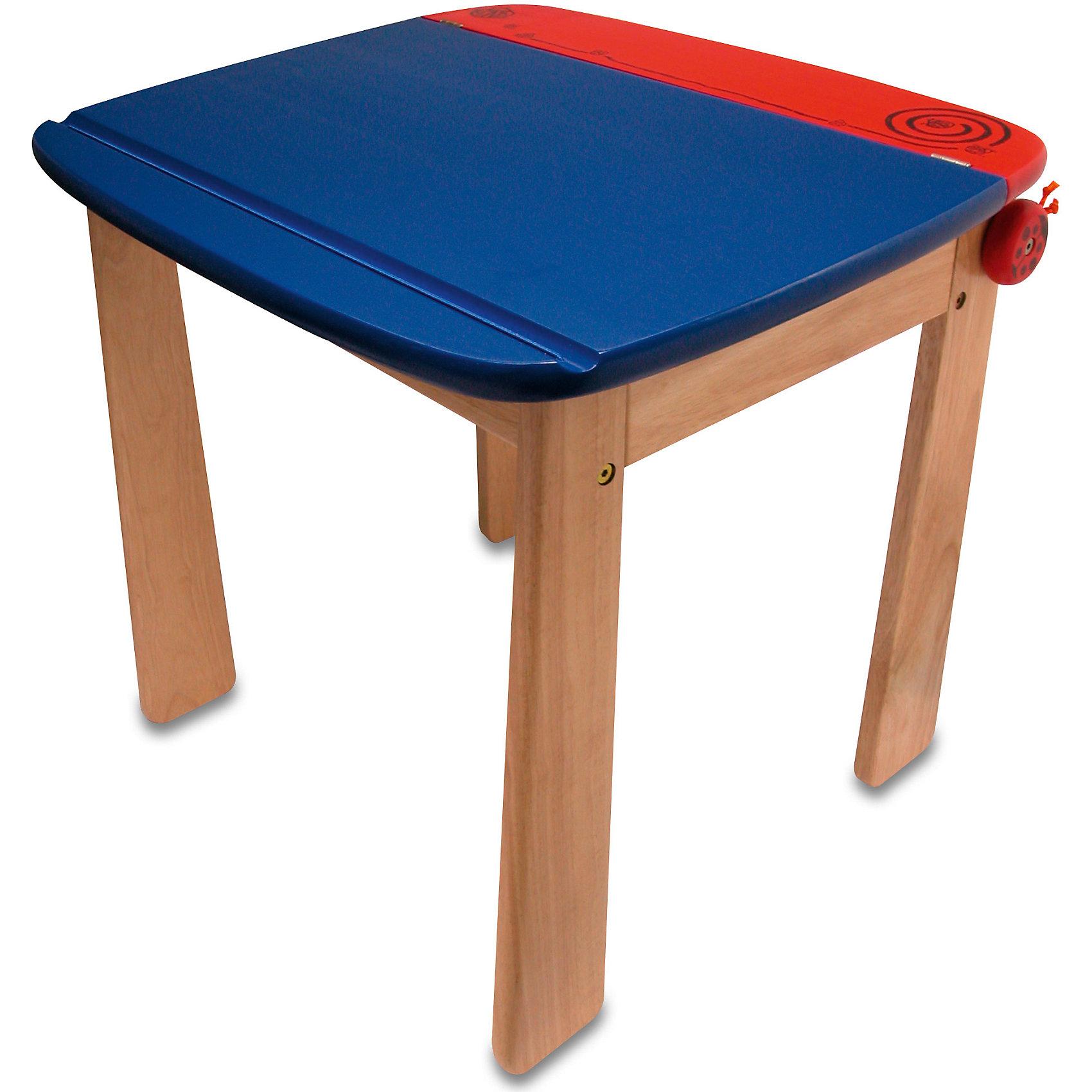 Стол с контейнером для ручек деревянный, Im Toy, голубойМебель<br>Стол с контейнером для ручек деревянный, Im Toy, голубой.<br><br>Характеристики:<br><br>• Для детей в возрасте: от 3 лет<br>• Материал: древесина редких ценных пород, которые растут в экологически-чистых районах Юго-Восточной Азии<br>• Размер: 60х52х54 см.<br>• Цвет столешницы: голубой, красный<br>• Размер упаковки: 61х53х8 см.<br>• Вес: 8,6 кг.<br><br>Яркий удобный столик с открывающейся столешницей и креплением для рулона бумаги станет идеальным местом для рисования и других занятий творчеством. У столика устойчивая конструкция, гладкие ножки и безопасные закруглённые углы. Столешница поднимается, под ней находится вместительный контейнер для хранения необходимых в процессе творчества аксессуаров. Таким образом, у ребенка все будет под рукой, а после занятий - аккуратно убрано на место. Столешница оборудована доводчиком для плавного открытия и закрытия. Жесткой фиксации столешницы в открытом положении нет (если открыть столешницу и нажать на нее, она плавно закроется). Для крепления рулона бумаги под столешницей предусмотрена деревянная ось, которую, по бокам придерживают забавные божьи коровки. Стол изготовлен из ценных пород древесины, окрашен безопасными красками насыщенных цветов.<br><br>Стол с контейнером для ручек деревянный, Im Toy, голубой можно купить в нашем интернет-магазине.<br><br>Ширина мм: 52<br>Глубина мм: 60<br>Высота мм: 70<br>Вес г: 8600<br>Возраст от месяцев: 36<br>Возраст до месяцев: 72<br>Пол: Унисекс<br>Возраст: Детский<br>SKU: 5543467