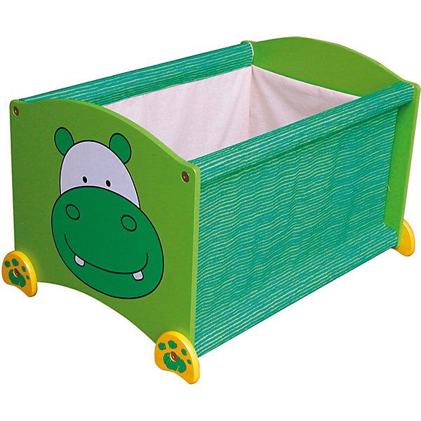 Ящик для хранения Бегемот, Im Toy, зеленыйЯщики для игрушек<br>Ящик для хранения Бегемот, Im Toy, зеленый.<br><br>Характеристики:<br><br>• Для детей в возрасте: от 3 до 6 лет<br>• Материал: древесина, текстиль<br>• Цвет: зеленый<br>• Размер: 34 х 44 х 32,5 см.<br>• Вес: 2,583 кг.<br><br>Ящик для хранения позволит вам сохранять порядок в детской комнате, а также приучать малыша к аккуратности и к тому, что все вещи должны лежать на своих местах. Ящик выполнен в виде прямоугольной конструкции зеленого цвета с изображением улыбающейся мордашки бегемота. Он достаточно вместителен. Ящик имеет устойчивое основание, поэтому малыш не опрокинет его во время использования. Углы изделия закруглены. Ящик изготовлен из высококачественной экологичной древесины и текстиля, окрашен безопасными, стойкими к истиранию красителями.<br> <br>Ящик для хранения Бегемот, Im Toy, зеленый можно купить в нашем интернет-магазине.<br>Ширина мм: 34; Глубина мм: 44; Высота мм: 33; Вес г: 2583; Возраст от месяцев: 36; Возраст до месяцев: 72; Пол: Унисекс; Возраст: Детский; SKU: 5543470;