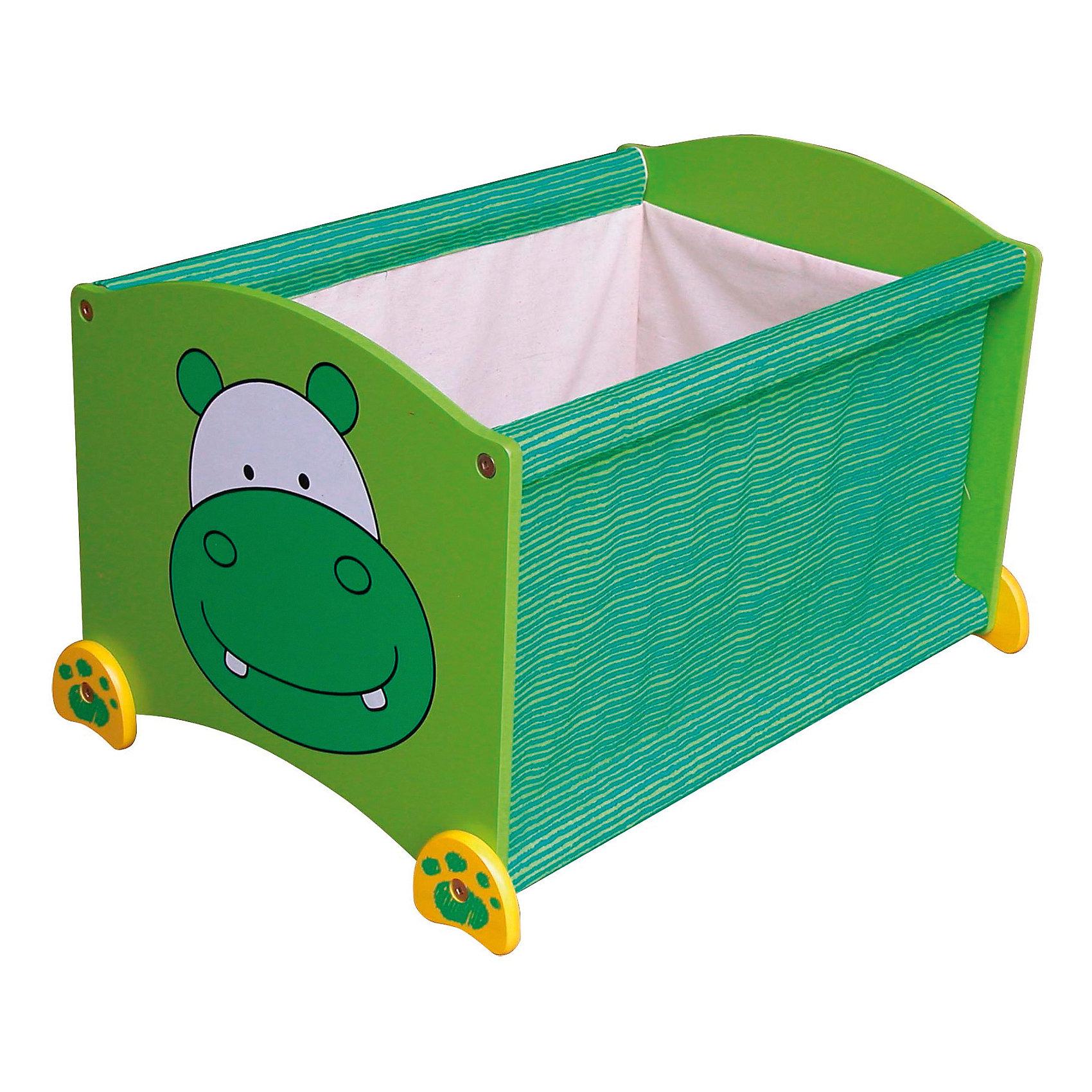 Ящик для хранения Бегемот, Im Toy, зеленыйПорядок в детской<br>Ящик для хранения Бегемот, Im Toy, зеленый.<br><br>Характеристики:<br><br>• Для детей в возрасте: от 3 до 6 лет<br>• Материал: древесина, текстиль<br>• Цвет: зеленый<br>• Размер: 34 х 44 х 32,5 см.<br>• Вес: 2,583 кг.<br><br>Ящик для хранения позволит вам сохранять порядок в детской комнате, а также приучать малыша к аккуратности и к тому, что все вещи должны лежать на своих местах. Ящик выполнен в виде прямоугольной конструкции зеленого цвета с изображением улыбающейся мордашки бегемота. Он достаточно вместителен. Ящик имеет устойчивое основание, поэтому малыш не опрокинет его во время использования. Углы изделия закруглены. Ящик изготовлен из высококачественной экологичной древесины и текстиля, окрашен безопасными, стойкими к истиранию красителями.<br> <br>Ящик для хранения Бегемот, Im Toy, зеленый можно купить в нашем интернет-магазине.<br><br>Ширина мм: 34<br>Глубина мм: 44<br>Высота мм: 33<br>Вес г: 2583<br>Возраст от месяцев: 36<br>Возраст до месяцев: 72<br>Пол: Унисекс<br>Возраст: Детский<br>SKU: 5543470
