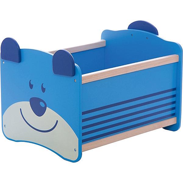 Ящик для хранения Медведь, Im Toy, синийЯщики для игрушек<br>Ящик для хранения Медведь, Im Toy, синий.<br><br>Характеристики:<br><br>• Для детей в возрасте: от 3 до 6 лет<br>• Материал: древесина<br>• Цвет: синий<br>• Размер: 34 х 44 х 32,5 см.<br>• Вес: 2,583 кг.<br><br>Ящик для хранения позволит вам сохранять порядок в детской комнате, а также приучать малыша к аккуратности и к тому, что все вещи должны лежать на своих местах. Ящик выполнен в виде прямоугольной конструкции синего цвета. Передняя стенка ящика – это улыбающаяся мордочка медвежонка с ушками, которые играют роль ручек, а задняя стенка - с хвостиком. Ящик достаточно вместителен. Он имеет устойчивое основание, поэтому малыш не опрокинет его во время использования. Углы изделия закруглены. Ящик изготовлен из высококачественной экологичной древесины, окрашен безопасными, стойкими к истиранию красителями.<br> <br>Ящик для хранения Медведь, Im Toy, синий можно купить в нашем интернет-магазине.<br><br>Ширина мм: 34<br>Глубина мм: 44<br>Высота мм: 33<br>Вес г: 2583<br>Возраст от месяцев: 36<br>Возраст до месяцев: 72<br>Пол: Унисекс<br>Возраст: Детский<br>SKU: 5543471