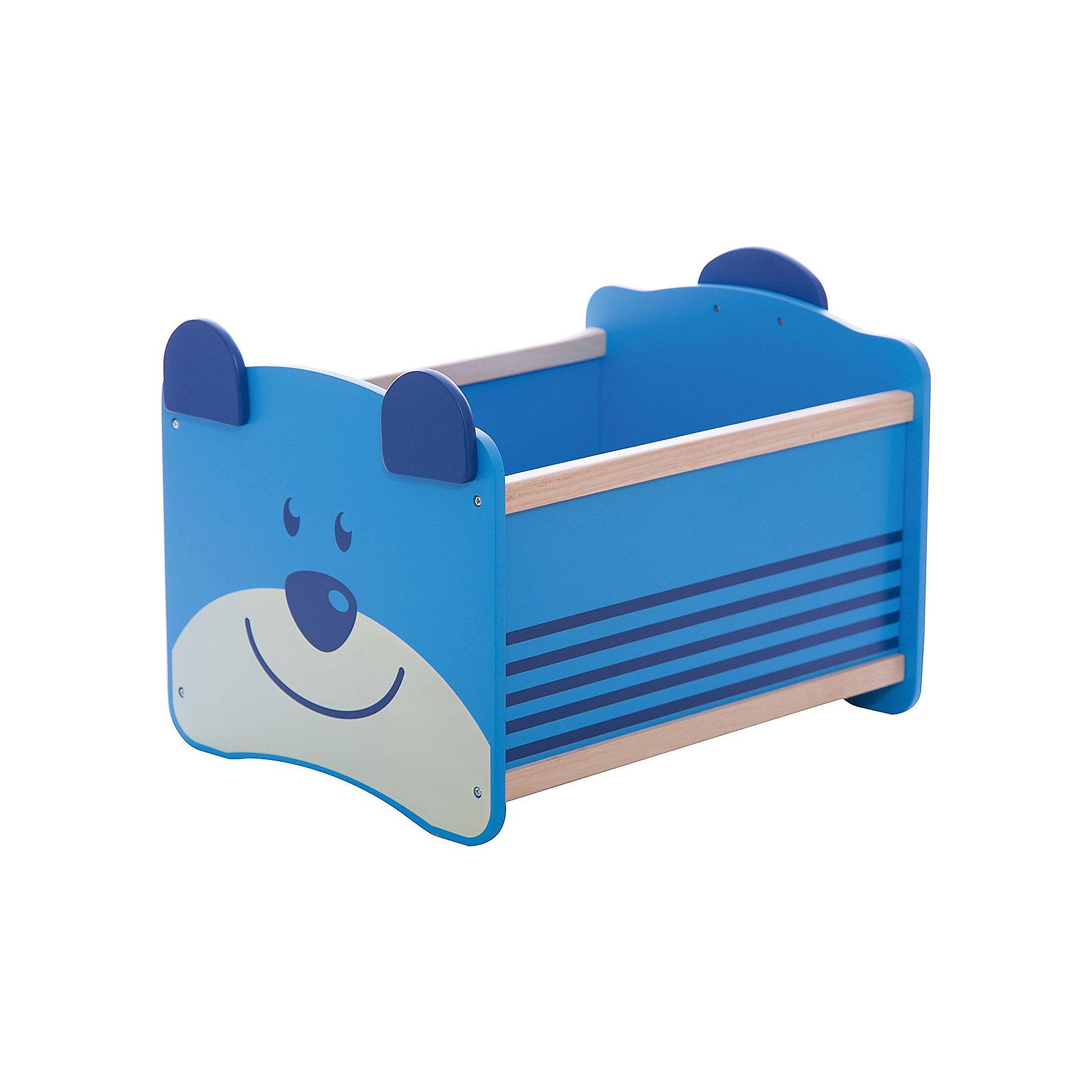 Ящик для хранения Медведь, Im Toy, синийПорядок в детской<br>Ящик для хранения Медведь, Im Toy, синий.<br><br>Характеристики:<br><br>• Для детей в возрасте: от 3 до 6 лет<br>• Материал: древесина<br>• Цвет: синий<br>• Размер: 34 х 44 х 32,5 см.<br>• Вес: 2,583 кг.<br><br>Ящик для хранения позволит вам сохранять порядок в детской комнате, а также приучать малыша к аккуратности и к тому, что все вещи должны лежать на своих местах. Ящик выполнен в виде прямоугольной конструкции синего цвета. Передняя стенка ящика – это улыбающаяся мордочка медвежонка с ушками, которые играют роль ручек, а задняя стенка - с хвостиком. Ящик достаточно вместителен. Он имеет устойчивое основание, поэтому малыш не опрокинет его во время использования. Углы изделия закруглены. Ящик изготовлен из высококачественной экологичной древесины, окрашен безопасными, стойкими к истиранию красителями.<br> <br>Ящик для хранения Медведь, Im Toy, синий можно купить в нашем интернет-магазине.<br><br>Ширина мм: 34<br>Глубина мм: 44<br>Высота мм: 33<br>Вес г: 2583<br>Возраст от месяцев: 36<br>Возраст до месяцев: 72<br>Пол: Унисекс<br>Возраст: Детский<br>SKU: 5543471