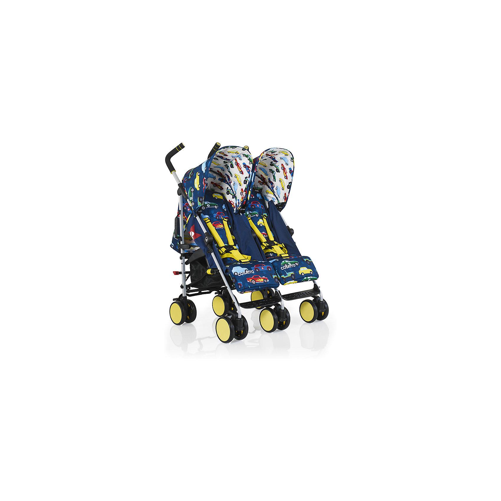 Коляска-трость для двойни Cosatto, Supa Dupa Go, Rev UpКоляски для двойни<br>Cosatto SUPA DUPA GO - это яркая коляска-трость для двойни, которая может использоваться с самого рождения. Неповторимый дизайн и компактные размеры делают коляску особенно привлекательной как для детей так и для их родителей.<br>Характеристики:<br>•Для детей с рождения до 3 лет, весом до 15 кг на каждого ребенка<br>•4 позиции наклона спинок работают независимо друг от друга, регулируются одной рукой<br>•Регулируемая подставка для ножек<br>•Регулируемая высота ручки плюс третья ручка для простоты использования<br>•Встроенный прямо в капюшон прозрачный карман для iPad или другого планшета. Ваш ребенок сможет смотреть мультфильмы прямо лежа в коляске!<br>•Полностью раскладывающийся защитный капюшон<br>•Легко складывается, автоматическая блокировка<br>•Вместительная корзина хранения<br>•Возможность стоять в сложенном состоянии без дополнительной опоры<br>•Полностью съемное сиденье для легкой чистки<br>•Блокировка передних поворотных колес<br>•Легкое алюминиевое шасси с рукояткой для переноски<br>•В комплекте:  дождевик<br>Размеры:<br>В разложенном виде (Д х Ш х В), см: 103 х 72 х 70<br>В сложенном виде (Д х Ш х В), см: 103 х 50 х 38<br>Каждое сиденье (Ш х Г), см: 28 х 19<br>Глубина каждого сиденья с поднятой подножкой: 33 см<br>Длина спинки: 48 см<br>Длина спального места: 82 см<br>Высота ручки, см: 103-106<br>Внешнее расстояние между задними колесами: 72,5 см<br>Диаметр колес: 14 см<br>Вес: 13,8 кг<br><br>Ширина мм: 107<br>Глубина мм: 300<br>Высота мм: 450<br>Вес г: 16000<br>Возраст от месяцев: 6<br>Возраст до месяцев: 36<br>Пол: Унисекс<br>Возраст: Детский<br>SKU: 5543588