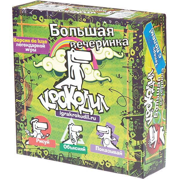 Настольная игра Крокодил Большая вечеринка, МагелланНастольные игры для всей семьи<br>Характеристики товара:<br><br>• возраст от 12 лет<br>• материал: картон, пластик<br>• в комплекте: игровое поле, 4 фишки крокодила, 240 карточек на объяснение, 30 карт ловушек, 10 круглых фишек, блокнот для рисования, 4 карандаша, песочные часы, правила игры<br>• количество игроков: от 4 до 12<br>• продолжительность сеанса игры: от 45 до 90 минут<br>• авторы: Т. Бокарев,  Д. Кибкало<br>• размер упаковки 26,5х26,5х7,5 см<br>• вес упаковки 1,3 кг.<br>• страна бренда: Россия<br>• страна производитель: Россия<br><br>Настольная игра «Крокодил Большая вечеринка» Магеллан — версия классической игры в крокодила, только с еще более увлекательными и сложными заданиями. Слова теперь можно не только показывать жестами, но и рисовать, объяснять ассоциациями, с закрытыми глазами. <br><br>Каждый игрок берет фишку в виде крокодильчика, задача которого прийти к финишу первым. По пути встретятся много заданий, а также ловушки, расставленные другими игроками. Игра позволит не только весело провести время, но и потренирует воображение, фантазию и смекалку.<br><br>Настольную игру «Крокодил Большая вечеринка» Магеллан можно приобрести в нашем интернет-магазине.<br><br>Ширина мм: 265<br>Глубина мм: 265<br>Высота мм: 75<br>Вес г: 1293<br>Возраст от месяцев: 144<br>Возраст до месяцев: 2147483647<br>Пол: Унисекс<br>Возраст: Детский<br>SKU: 5543768
