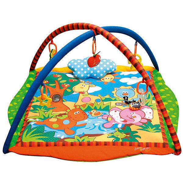 Развивающий игровой коврик Лесные друзья, MERXРазвивающие коврики<br>Развивающий игровой коврик для новорожденных и младенцев. Коврик обеспечит вашему ребенку комфортное и безопасное место для игры, обучения, развития и отдыха.Функции:<br> - Игрушки для развития моторики;<br> - Пищалки для развития слуха;                                      <br> - Использованы разнообразные тактильные материалы;<br> - Разноцветный красочный дизайн и зеркальце, способствующие развитию зрения;<br> - Все игрушки, подвешенные на дугах, можно снять с колец и использовать отдельно от коврика;<br> - Компановка элементов коврика вдохновляет ребенка к движению и игре;<br>                                                Комплектность: Игровой коврик с дугами и аксессуарами.<br>На коврике: Пищалка, Зеркальце, Мягкая игрушка с пищалкой. <br>На дугах: Пластиковое кольцо с пластиковой игрушкой, Пластиковое кольцо с мягкой игрушкой с погремушкой,  Пластиковое кольцо с ключами для развития моторики,  Пластиковое кольцо с прорезывателем.Коврик, внешний слой - Полиэстер; Коврик, наполнитель - Полиэстер; Дуга, каркас - Фиберглас; Дуга внешний слой - Полиэстер; Дуга, наполнитель - Полиэстер; Пластиковая игрушка, прорезыватель - Пластик (ABS, PP, PE); Мягкая игрушка, внешний слой и наполнитеь - Полиэстер.88 х 88 х 50 см<br><br>Ширина мм: 880<br>Глубина мм: 880<br>Высота мм: 500<br>Вес г: 990<br>Возраст от месяцев: 0<br>Возраст до месяцев: 36<br>Пол: Унисекс<br>Возраст: Детский<br>SKU: 5543776