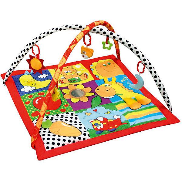 Развивающий игровой коврик  Летняя пора, MERXРазвивающие коврики<br>Развивающий игровой коврик для новорожденных и младенцев. Коврик обеспечит вашему ребенку комфортное и безопасное место для игры, обучения, развития и отдыха.Функции:<br>- Игрушки и 3D лепестки для развития моторики;<br> - Пищалки и шуршалки для развития слуха;                                      <br> - Использованы разнообразные тактильные материалы;<br> - Разноцветный красочный дизайн и зеркальце, способствующие развитию зрения;<br> - Все игрушки, подвешенные на дугах, можно снять с колец и использовать отдельно от коврика;<br> - Компановка элементов коврика вдохновляет ребенка к движению и игре; <br>                                                Комплектность: Игровой коврик с дугами и аксессуарами.<br>На коврике: Пищалка, Шуршащие 3D Лепестки для развития моторики и слуха, Зеркальце, Погремушка. <br>На дугах: Пластиковое кольцо с мягкой игрушкой с пищалкой, Пластиковое кольцо с мягкой игрушкой с погремушкой,  Пластиковое кольцо с мягкой игрушкой с шуршалкой, Пластиковое кольцо с ключами для развития моторики,  Пластиковое кольцо с прорезывателем.Коврик, внешний слой - Полиэстер; Коврик, наполнитель - Полиэстер; Дуга, каркас - Фиберглас; Дуга внешний слой - Полиэстер; Дуга, наполнитель - Полиэстер; Пластиковая игрушка, прорезыватель - Пластик (ABS, PP, PE); Мягкая игрушка, внешний слой и наполнитеь - Полиэстер.78 х 75 х 46 см<br>Ширина мм: 780; Глубина мм: 750; Высота мм: 460; Вес г: 940; Возраст от месяцев: 0; Возраст до месяцев: 36; Пол: Унисекс; Возраст: Детский; SKU: 5543777;