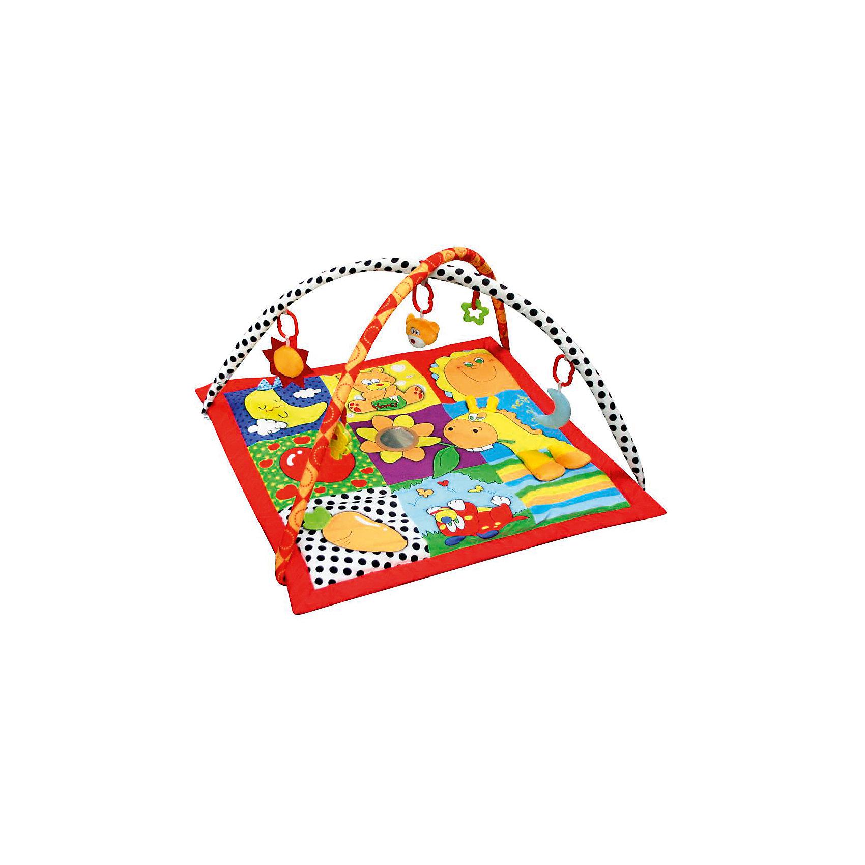 Развивающий игровой коврик  Летняя пора, MERXРазвивающие коврики<br>Развивающий игровой коврик для новорожденных и младенцев. Коврик обеспечит вашему ребенку комфортное и безопасное место для игры, обучения, развития и отдыха.Функции:<br>- Игрушки и 3D лепестки для развития моторики;<br> - Пищалки и шуршалки для развития слуха;                                      <br> - Использованы разнообразные тактильные материалы;<br> - Разноцветный красочный дизайн и зеркальце, способствующие развитию зрения;<br> - Все игрушки, подвешенные на дугах, можно снять с колец и использовать отдельно от коврика;<br> - Компановка элементов коврика вдохновляет ребенка к движению и игре; <br>                                                Комплектность: Игровой коврик с дугами и аксессуарами.<br>На коврике: Пищалка, Шуршащие 3D Лепестки для развития моторики и слуха, Зеркальце, Погремушка. <br>На дугах: Пластиковое кольцо с мягкой игрушкой с пищалкой, Пластиковое кольцо с мягкой игрушкой с погремушкой,  Пластиковое кольцо с мягкой игрушкой с шуршалкой, Пластиковое кольцо с ключами для развития моторики,  Пластиковое кольцо с прорезывателем.Коврик, внешний слой - Полиэстер; Коврик, наполнитель - Полиэстер; Дуга, каркас - Фиберглас; Дуга внешний слой - Полиэстер; Дуга, наполнитель - Полиэстер; Пластиковая игрушка, прорезыватель - Пластик (ABS, PP, PE); Мягкая игрушка, внешний слой и наполнитеь - Полиэстер.78 х 75 х 46 см<br><br>Ширина мм: 780<br>Глубина мм: 750<br>Высота мм: 460<br>Вес г: 940<br>Возраст от месяцев: 0<br>Возраст до месяцев: 36<br>Пол: Унисекс<br>Возраст: Детский<br>SKU: 5543777