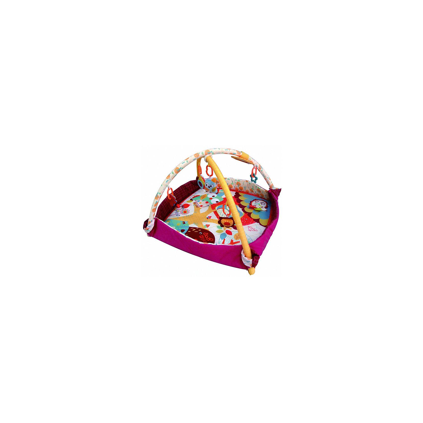Развивающий игровой коврик - бассейн Додо и Кики  , MERXРазвивающие коврики<br>Развивающий игровой коврик - бассейн для новорожденных и младенцев. Бортики коврика могут раскладываться, увеличивая площадь коврика, либо могут быть поднятыми для ограничения игрового пространства. Коврик обеспечит вашему ребенку комфортное и безопасное место для игры, обучения, развития и отдыха.Функции:<br> - Игрушки и 3D лепестки для развития моторики;<br> - Пищалки и шуршалки для развития слуха;                                      <br> - Использованы разнообразные тактильные материалы;<br> - Разноцветный красочный дизайн и зеркальце, способствующие развитию зрения;<br> - Все игрушки, подвешенные на дугах, можно снять с колец и использовать отдельно от коврика;<br> - Компановка элементов коврика вдохновляет ребенка к движению и игре;<br>                                                Комплектность: Игровой коврик с дугами и аксессуарами.<br>На коврике: Пищалка, Шуршащие 3D Лепестки для развития моторики и слуха, Пластиковое кольцо-погремушка. <br>На дугах: Пластиковое кольцо с мягкой игрушкой с пищалкой, Пластиковое кольцо с мягкой игрушкой с погремушкой,  Пластиковое кольцо с ключами для развития моторики, Пластиковое кольцо с зеркальцем, Пластиковое кольцо с прорезывателем.Коврик, внешний слой - 80% Полиэстер / 20% Хлопок; Коврик, наполнитель - Полиэстер; Дуга, каркас - Фиберглас; Дуга внешний слой - 80% Полиэстер/ 20% Хлопок; Дуга, наполнитель - Полиэстер; Пластиковая игрушка, прорезыватель - Пластик (ABS, PP, PE); Мягкая игрушка, внешний слой и наполнитеь - Полиэстер.95 x 95 x 48 см<br><br>Ширина мм: 950<br>Глубина мм: 950<br>Высота мм: 480<br>Вес г: 1115<br>Возраст от месяцев: 0<br>Возраст до месяцев: 36<br>Пол: Унисекс<br>Возраст: Детский<br>SKU: 5543779