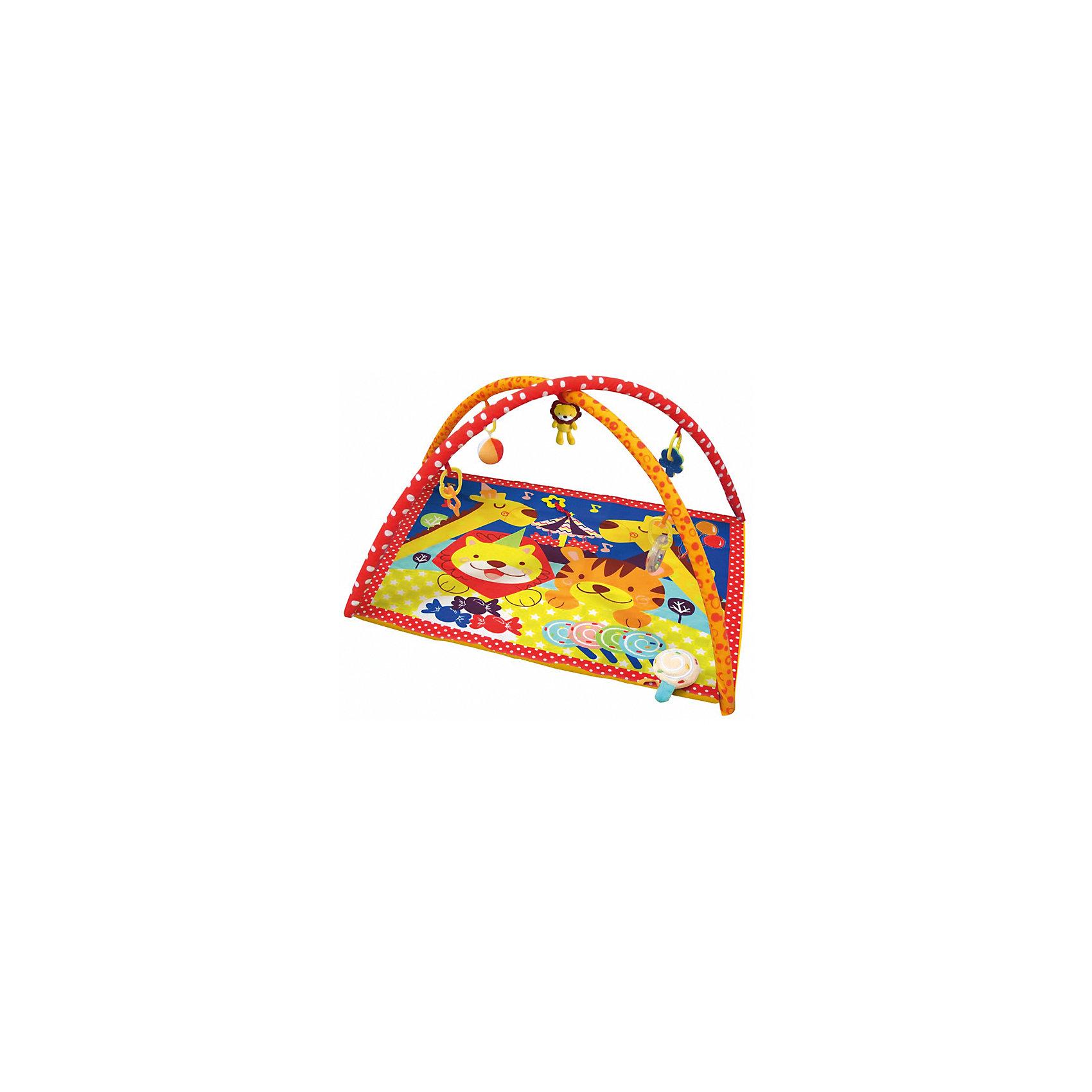Развивающий игровой коврик Цирк, MERXРазвивающие коврики<br>Развивающий игровой коврик для новорожденных и младенцев. Коврик обеспечит вашему ребенку комфортное и безопасное место для игры, обучения, развития и отдыха.Функции:<br> - Игрушки для развития моторики;<br> - Пищалки для развития слуха;                                      <br> - Использованы разнообразные тактильные материалы;<br> - Разноцветный красочный дизайн, способствующий развитию зрения;<br> - Все игрушки, подвешенные на дугах, можно снять с колец и использовать отдельно от коврика;<br> - Компановка элементов коврика вдохновляет ребенка к движению и игре;<br>                                                Комплектность: Игровой коврик с дугами и аксессуарами.<br>На коврике: Мягкая игрушка с погремушкой. <br>На дугах: Пластиковое кольцо с мягкой игрушкой с пищалкой, Пластиковое кольцо с мягкой игрушкой с погремушкой,  Пластиковое кольцо с ключами для развития моторики, Пластиковое кольцо с прорезывателем.Коврик, внешний слой - Полиэстер; Коврик, наполнитель - Полиэстер; Дуга, каркас - Фиберглас; Дуга внешний слой - Полиэстер; Дуга, наполнитель - Полиэстер; Пластиковая игрушка, прорезыватель - Пластик (ABS, PP, PE); Мягкая игрушка, внешний слой и наполнитеь - Полиэстер.78 х 78 х 46 см<br><br>Ширина мм: 780<br>Глубина мм: 780<br>Высота мм: 460<br>Вес г: 1063<br>Возраст от месяцев: 0<br>Возраст до месяцев: 36<br>Пол: Унисекс<br>Возраст: Детский<br>SKU: 5543781