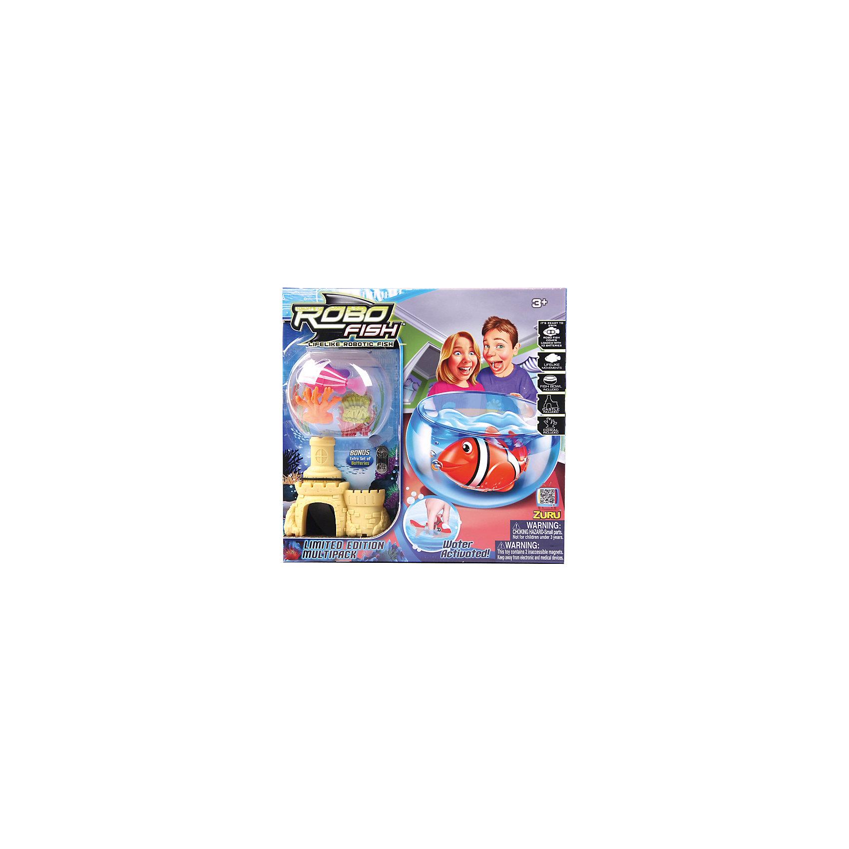 РобоРыбка с 2 кораллами, замком и  аквариумом, ZURUЗаводные игрушки<br>Характеристики товара:<br><br>• возраст от 3 лет<br>• материал: пластик<br>• в комплекте: аквариум, рыбка, замок, 2 коралла<br>• длина рыбки 7,5 см<br>• объем аквариума 4-4,5 литра<br>• тип батареек: 2 х A76 / LR44, 1.5V<br>• наличие батареек: входят в комплект<br>• размер упаковки 28х29х17 см<br>• вес упаковки 820 г.<br>• упаковка: картонная коробка блистерного типа<br>• страна бренда: Новая Зеландия<br>• страна производитель: Китай<br><br>Набор Роборыбка с 2 кораллами, замком и аквариумом Zuru — увлекательная игрушка, которая позволит ребенку завести собственный аквариум с рыбкой. Удивительная рыбка умеет плавать, погружаться на дно и подниматься на поверхность. Дополнить и украсить аквариум можно кораллами и домиком для рыбки.<br><br>Внутри рыбки встроен электромагнитный моторчик, благодаря которому она умеет двигаться в 5 направлениях. Игрушка изготовлена из качественного безопасного пластика.<br><br>Роборыбку с 2 кораллами, замком и аквариумом Zuru можно приобрести в нашем интернет-магазине.<br><br>Ширина мм: 280<br>Глубина мм: 290<br>Высота мм: 170<br>Вес г: 820<br>Возраст от месяцев: 36<br>Возраст до месяцев: 2147483647<br>Пол: Унисекс<br>Возраст: Детский<br>SKU: 5544181