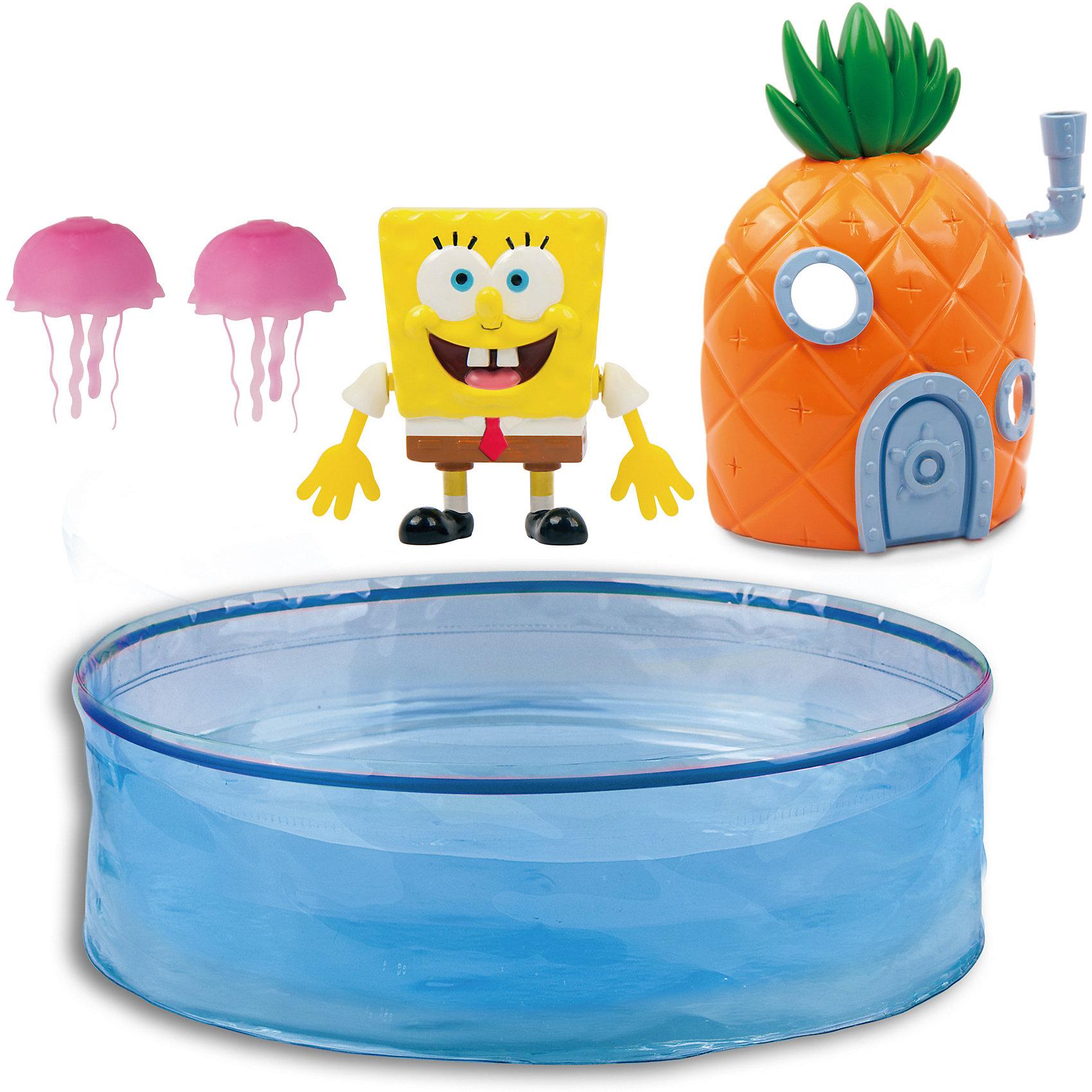 Набор Спанч Боб с аквариумом и домиком, ZURUЗаводные игрушки<br>Характеристики товара:<br><br>• возраст от 3 лет<br>• материал: пластик<br>• в комплекте: аквариум, Спанч Боб, домик, 2 медузы<br>• размер фигурки 6,5 см х 5,5 см<br>• диаметр аквариума 40 см<br>• тип батареек: 2 х AG13 / LR44 (миниатюрные)<br>• наличие батареек: входят в комплект<br>• герой: Губка Боб / Sponge Bob<br>• размер упаковки 33х23х12 см<br>• вес упаковки 783 г.<br>• паковка: картонная коробка блистерного типа<br>• страна бренда: Новая Зеландия<br>• страна производитель: Китай<br><br>Набор Спанч Боб с аквариумом и домиком Zuru — увлекательная игрушка, созданная по мотивам известного мультфильма про Спанч Боба. Спанч Боб живет в домике в виде ананаса на дне большого аквариума. Он умеет плавать, двигая ручками. Если одну руку убрать назад, а вторую вытянуть вперед, то Спанч Боб закружится на поверхности. Если ручки вытянуты вперед, то он будет плавать вперед, а вытянув их назад, Спанч Боб поплывет в обратном направлении.<br><br>Игрушка изготовлена из качественного безопасного пластика. Работает от 2 батареек LR44 (в комплекте). Работает в режиме экономии батареек, через 4 минуты Спанч Боб отключается автоматически.<br><br>Набор Спанч Боб с аквариумом и домиком Zuru можно приобрести в нашем интернет-магазине.<br><br>Ширина мм: 120<br>Глубина мм: 330<br>Высота мм: 230<br>Вес г: 783<br>Возраст от месяцев: 36<br>Возраст до месяцев: 2147483647<br>Пол: Унисекс<br>Возраст: Детский<br>SKU: 5544182