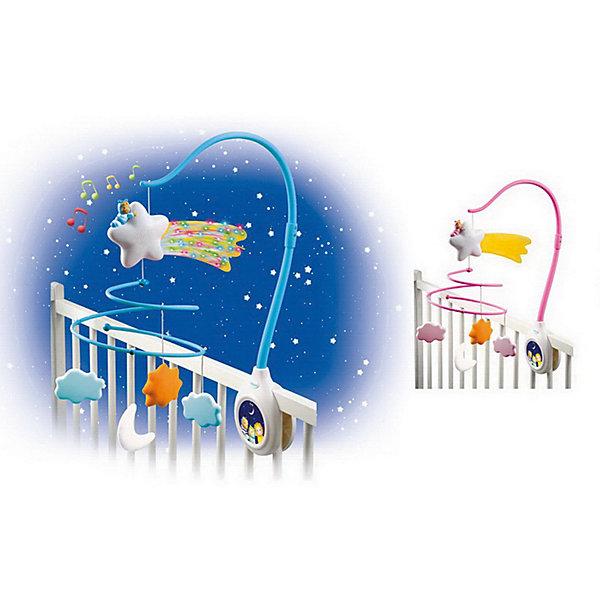 Музыкальная каруселька на кроватку Cotoons (свет, звук), SmobyИгрушки для новорожденных<br>Характеристики товара:<br><br>• возраст с рождения<br>• материал: пластик<br>• комплект: стойка, дуга для крепления мобиля на кроватку, музыкальное устройство, подвесная игрушка - 4 шт<br>• тип батареек: 3 х AAA / LR03 1.5V (мизинчиковые)<br>• наличие батареек: не входят в комплект<br>• размер упаковки 37х29х5,7 см<br>• вес упаковки 700 г.<br>• страна бренда: Франция<br>• страна производитель: Китай<br>• товар представлен в ассортименте<br><br>Музыкальная каруселька на кроватку Smoby крепится на бортики кроватки новорожденного при помощи гаек. Каруселька выполнена в виде дуги с подвесными игрушками, которые крутятся. Игрушки обязательно привлекут внимание малыша, он сможет наблюдать за ними, трогать и хватать их. Мелодии в памяти помогут убаюкать кроху перед сном. Карусель способствует развитию у малышей зрительного восприятия, музыкального слуха, тактильных ощущений.<br><br>Игрушка изготовлена из качественного пластика. Работает от 3 батареек ААА (в комплект не входят).<br><br>Музыкальную карусельку на кроватку Smoby можно приобрести в нашем интернет-магазине.<br>Ширина мм: 370; Глубина мм: 290; Высота мм: 57; Вес г: 700; Возраст от месяцев: -2147483648; Возраст до месяцев: 2147483647; Пол: Унисекс; Возраст: Детский; SKU: 5544424;