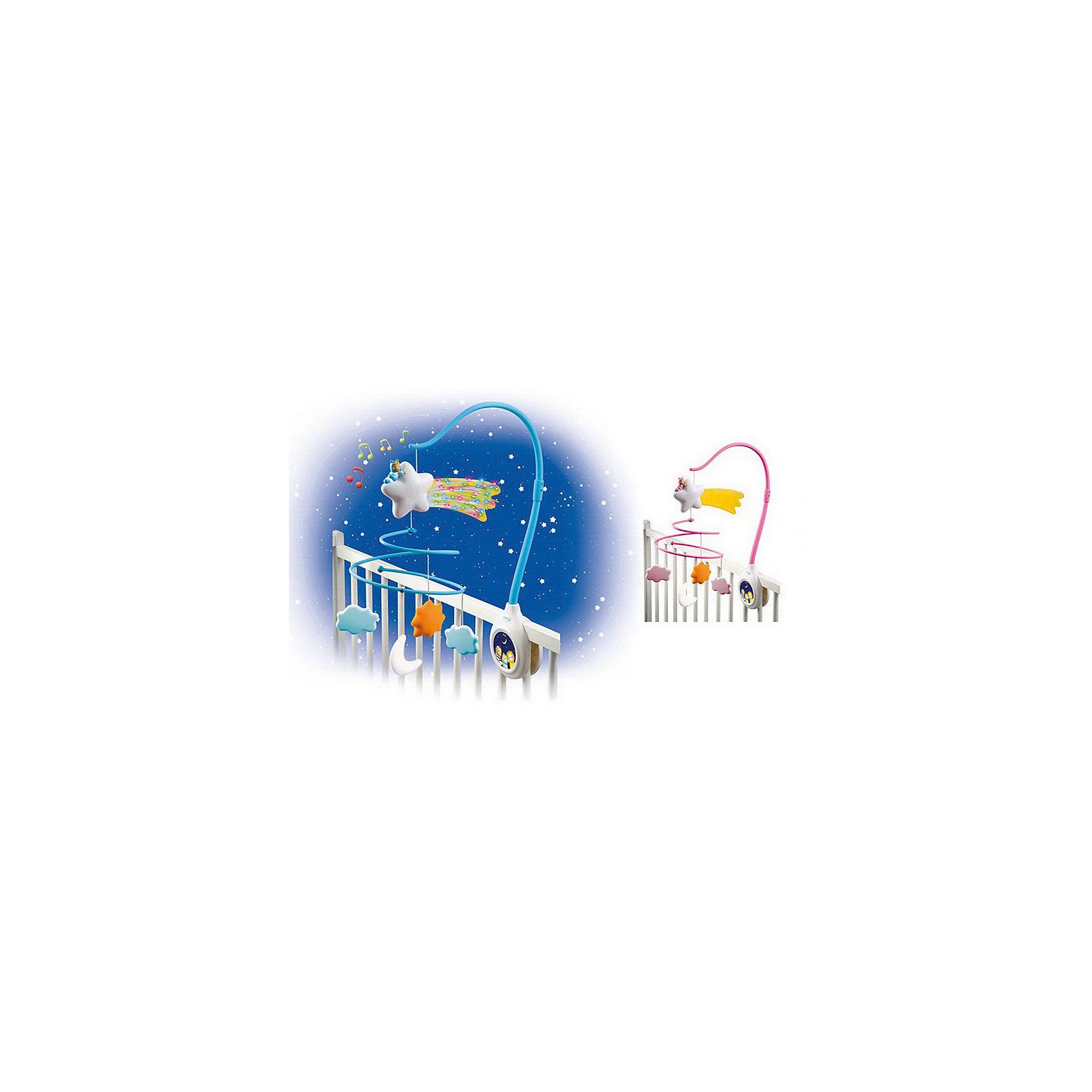 Музыкальная каруселька на кроватку Cotoons (свет, звук), SmobyПодвески<br>Характеристики товара:<br><br>• возраст с рождения<br>• материал: пластик<br>• комплект: стойка, дуга для крепления мобиля на кроватку, музыкальное устройство, подвесная игрушка - 4 шт<br>• тип батареек: 3 х AAA / LR03 1.5V (мизинчиковые)<br>• наличие батареек: не входят в комплект<br>• размер упаковки 37х29х5,7 см<br>• вес упаковки 700 г.<br>• страна бренда: Франция<br>• страна производитель: Китай<br>• товар представлен в ассортименте<br><br>Музыкальная каруселька на кроватку Smoby крепится на бортики кроватки новорожденного при помощи гаек. Каруселька выполнена в виде дуги с подвесными игрушками, которые крутятся. Игрушки обязательно привлекут внимание малыша, он сможет наблюдать за ними, трогать и хватать их. Мелодии в памяти помогут убаюкать кроху перед сном. Карусель способствует развитию у малышей зрительного восприятия, музыкального слуха, тактильных ощущений.<br><br>Игрушка изготовлена из качественного пластика. Работает от 3 батареек ААА (в комплект не входят).<br><br>Музыкальную карусельку на кроватку Smoby можно приобрести в нашем интернет-магазине.<br><br>Ширина мм: 370<br>Глубина мм: 290<br>Высота мм: 57<br>Вес г: 700<br>Возраст от месяцев: -2147483648<br>Возраст до месяцев: 2147483647<br>Пол: Унисекс<br>Возраст: Детский<br>SKU: 5544424