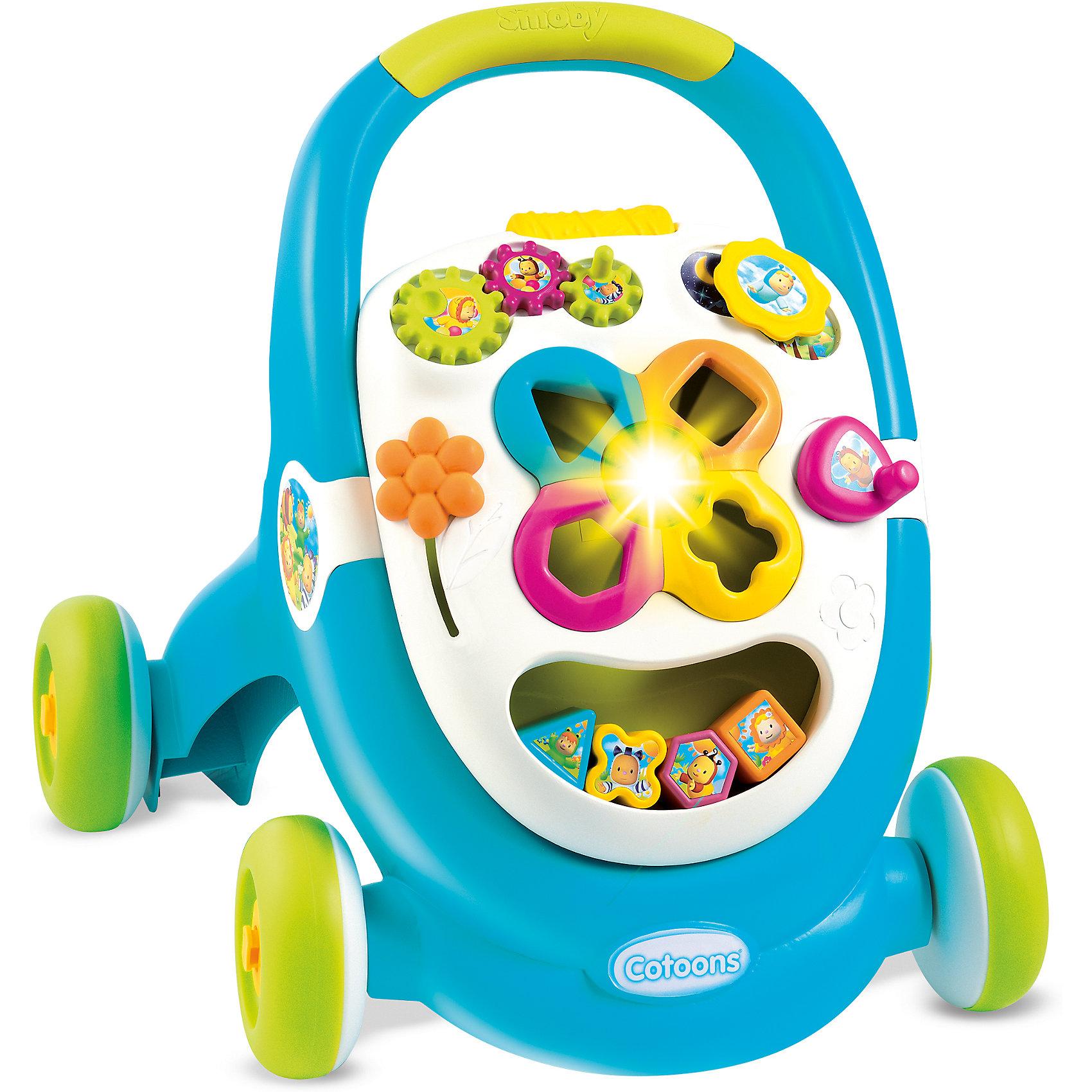 Развивающая каталка Ходунки, синяя, SmobyИгрушки для малышей<br>Характеристики товара:<br><br>• возраст от 1 года<br>• материал: пластик<br>• тип батареек: 2 x AG13 / LR44 (миниатюрные)<br>• наличие батареек: взодят в комплект<br>• колёса каталки блокируются<br>• панель со звуком и светом<br>• под ручкой каталки отделение для игрушек<br>• размер каталки 43х51х47 см<br>• размер упаковки 45х57х18 см<br>• вес упаковки 2,7 кг<br>• страна бренда: Франция<br>• страна производитель: Франция<br><br>Развивающая каталка «Ходунки» Smoby — игрушка для малыша, с помощью которой малыш будет учиться ходить. Держась за поручень, малыш начнет делать свои первые шаги и учиться держать равновесие и координировать движения. <br><br>На передней панели каталки расположена игровая панель, оснащенная звуком и светом. На ней малыш найдет развивающие игрушки: яркий сортер с кубиками, шестеренки и рычажок. Развивающие игрушки способствуют развитию мелкой моторики рук, цветового восприятия, тактильных ощущений, логики. На время игр колеса каталки блокируются, чтобы она не двигалась с места. <br><br>Игрушка изготовлена из безопасного качественного пластика с использованием нетоксичных красителей. Работает от 2 батареек LR44 (в комплекте).<br><br>Развивающую каталку «Ходунки» Smoby можно приобрести в нашем интернет-магазине.<br><br>Ширина мм: 443<br>Глубина мм: 564<br>Высота мм: 173<br>Вес г: 2685<br>Возраст от месяцев: 12<br>Возраст до месяцев: 2147483647<br>Пол: Мужской<br>Возраст: Детский<br>SKU: 5544431
