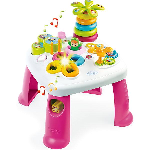 Развивающий игровой стол, розовый, SmobyРазвивающие центры<br>Характеристики товара:<br><br>• возраст от 1 года<br>• материал: пластик<br>• в комплекте: стол, аксессуары<br>• электронный сортер со светом<br>• барабан с палочками<br>• пирамидка-пальма с крутящейся кроной<br>• в ножке стола отвестие для кубиков<br>• игровые шестерёнки<br>• зеркальце<br>• прыгающий при нажатии кнопки лягушонок<br>• размер столика 47х47х49 см<br>• размер упаковки  57,5х14,5х49 см<br>• страна бренда: Франция<br>• страна производитель: Франция<br><br>Развивающий игровой стол Smoby — увлекательная развивающая игрушка для малышей от 1 года. Она способствует развитию мелкой моторики рук, тактильного и зрительного восприятия, логического мышления. На столе расположены разнообразные цветные игрушки.  Сортер и пирамидка в виде пальмы научат ребенка распознавать формы и различать цвета. Шестеренки развивают мелкую моторику рук. Барабан с палочками развивает музыкальный слух. <br><br>Игрушка оснащена световыми и звуковыми эффектами, делающими игру еще более интересной. Работает от 2 батареек LR44 (в комплекте). Столик изготовлен из качественного безвредного пластика. На столе нет острых углов, что исключает случайные травмы. Благодаря 4 устойчивым ножкам, стол хорошо и ровно стоит на поверхности и не падает.<br><br>Развивающий игровой стол Smoby можно приобрести в нашем интернет-магазине.<br><br>Ширина мм: 580<br>Глубина мм: 490<br>Высота мм: 150<br>Вес г: 2580<br>Возраст от месяцев: 12<br>Возраст до месяцев: 2147483647<br>Пол: Женский<br>Возраст: Детский<br>SKU: 5544433
