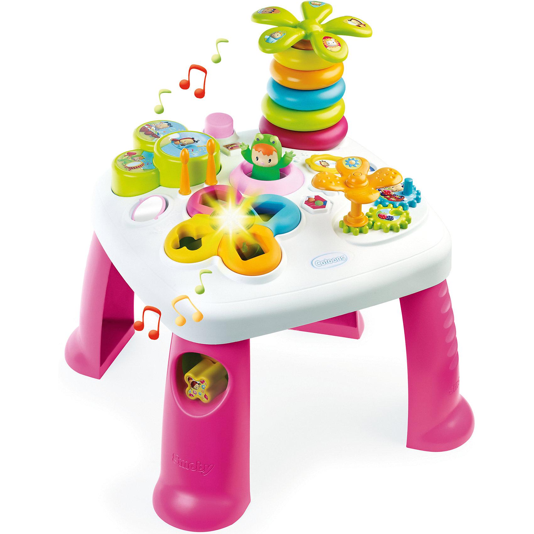 Развивающий игровой стол, розовый, SmobyРазвивающие игрушки<br>Характеристики товара:<br><br>• возраст от 1 года<br>• материал: пластик<br>• в комплекте: стол, аксессуары<br>• электронный сортер со светом<br>• барабан с палочками<br>• пирамидка-пальма с крутящейся кроной<br>• в ножке стола отвестие для кубиков<br>• игровые шестерёнки<br>• зеркальце<br>• прыгающий при нажатии кнопки лягушонок<br>• размер столика 47х47х49 см<br>• размер упаковки  57,5х14,5х49 см<br>• страна бренда: Франция<br>• страна производитель: Франция<br><br>Развивающий игровой стол Smoby — увлекательная развивающая игрушка для малышей от 1 года. Она способствует развитию мелкой моторики рук, тактильного и зрительного восприятия, логического мышления. На столе расположены разнообразные цветные игрушки.  Сортер и пирамидка в виде пальмы научат ребенка распознавать формы и различать цвета. Шестеренки развивают мелкую моторику рук. Барабан с палочками развивает музыкальный слух. <br><br>Игрушка оснащена световыми и звуковыми эффектами, делающими игру еще более интересной. Работает от 2 батареек LR44 (в комплекте). Столик изготовлен из качественного безвредного пластика. На столе нет острых углов, что исключает случайные травмы. Благодаря 4 устойчивым ножкам, стол хорошо и ровно стоит на поверхности и не падает.<br><br>Развивающий игровой стол Smoby можно приобрести в нашем интернет-магазине.<br><br>Ширина мм: 580<br>Глубина мм: 490<br>Высота мм: 150<br>Вес г: 2580<br>Возраст от месяцев: 12<br>Возраст до месяцев: 2147483647<br>Пол: Женский<br>Возраст: Детский<br>SKU: 5544433