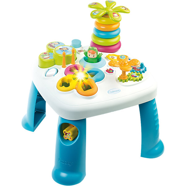 Развивающий игровой стол, синий, SmobyРазвивающие центры<br>Характеристики товара:<br><br>• возраст от 1 года<br>• материал: пластик<br>• в комплекте: стол, аксессуары<br>• электронный сортер со светом<br>• барабан с палочками<br>• пирамидка-пальма с крутящейся кроной<br>• в ножке стола отвестие для кубиков<br>• игровые шестерёнки<br>• зеркальце<br>• прыгающий при нажатии кнопки лягушонок<br>• размер столика 47х47х49 см<br>• размер упаковки  57,5х14,5х49 см<br>• страна бренда: Франция<br>• страна производитель: Франция<br><br>Развивающий игровой стол Smoby — увлекательная развивающая игрушка для малышей от 1 года. Она способствует развитию мелкой моторики рук, тактильного и зрительного восприятия, логического мышления. На столе расположены разнообразные цветные игрушки.  Сортер и пирамидка в виде пальмы научат ребенка распознавать формы и различать цвета. Шестеренки развивают мелкую моторику рук. Барабан с палочками развивает музыкальный слух. <br><br>Игрушка оснащена световыми и звуковыми эффектами, делающими игру еще более интересной. Работает от 2 батареек LR44 (в комплекте). Столик изготовлен из качественного безвредного пластика. На столе нет острых углов, что исключает случайные травмы. Благодаря 4 устойчивым ножкам, стол хорошо и ровно стоит на поверхности и не падает.<br><br>Развивающий игровой стол Smoby можно приобрести в нашем интернет-магазине.<br>Ширина мм: 580; Глубина мм: 490; Высота мм: 150; Вес г: 2580; Возраст от месяцев: 12; Возраст до месяцев: 2147483647; Пол: Мужской; Возраст: Детский; SKU: 5544434;