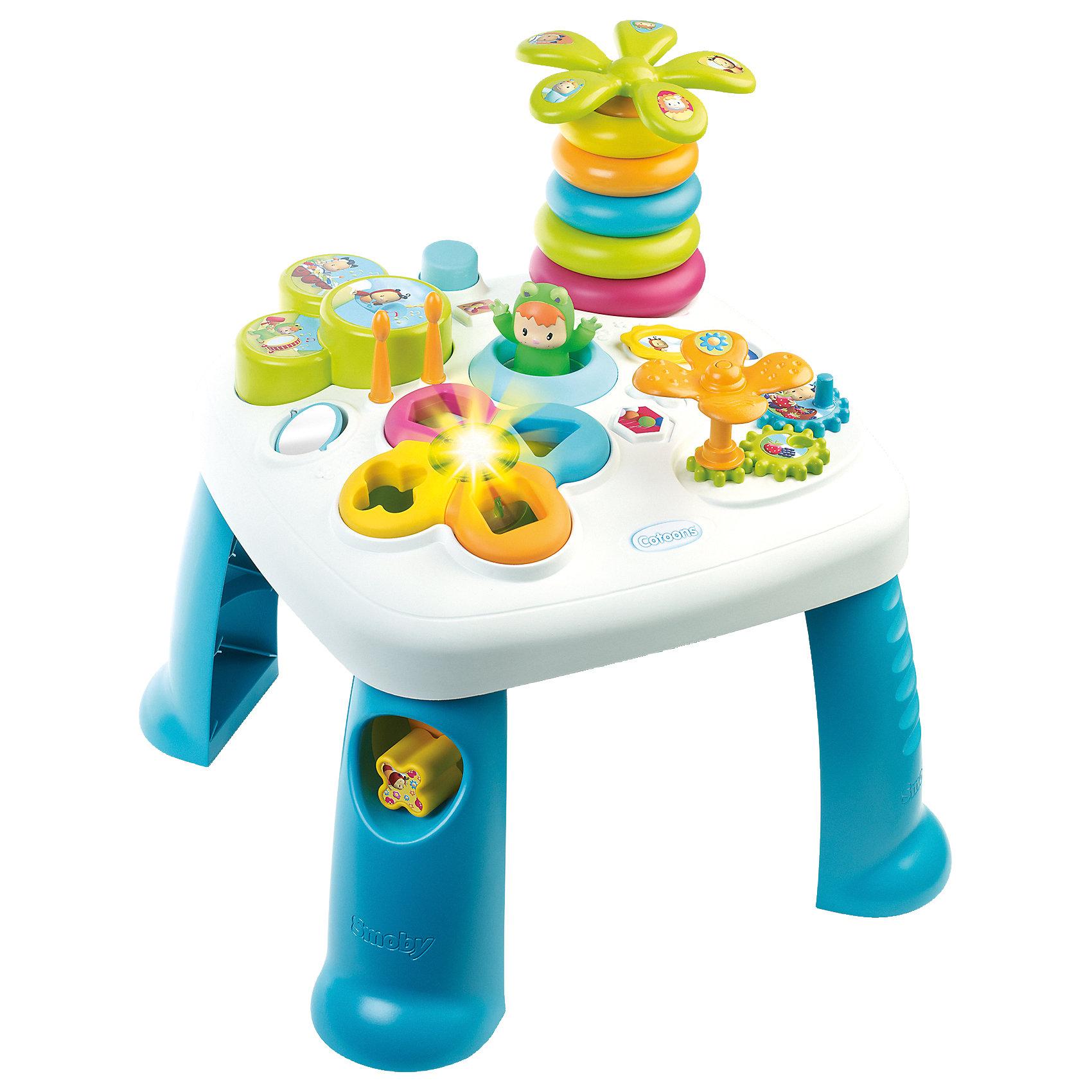 Развивающий игровой стол, синий, SmobyРазвивающие игрушки<br>Характеристики товара:<br><br>• возраст от 1 года<br>• материал: пластик<br>• в комплекте: стол, аксессуары<br>• электронный сортер со светом<br>• барабан с палочками<br>• пирамидка-пальма с крутящейся кроной<br>• в ножке стола отвестие для кубиков<br>• игровые шестерёнки<br>• зеркальце<br>• прыгающий при нажатии кнопки лягушонок<br>• размер столика 47х47х49 см<br>• размер упаковки  57,5х14,5х49 см<br>• страна бренда: Франция<br>• страна производитель: Франция<br><br>Развивающий игровой стол Smoby — увлекательная развивающая игрушка для малышей от 1 года. Она способствует развитию мелкой моторики рук, тактильного и зрительного восприятия, логического мышления. На столе расположены разнообразные цветные игрушки.  Сортер и пирамидка в виде пальмы научат ребенка распознавать формы и различать цвета. Шестеренки развивают мелкую моторику рук. Барабан с палочками развивает музыкальный слух. <br><br>Игрушка оснащена световыми и звуковыми эффектами, делающими игру еще более интересной. Работает от 2 батареек LR44 (в комплекте). Столик изготовлен из качественного безвредного пластика. На столе нет острых углов, что исключает случайные травмы. Благодаря 4 устойчивым ножкам, стол хорошо и ровно стоит на поверхности и не падает.<br><br>Развивающий игровой стол Smoby можно приобрести в нашем интернет-магазине.<br><br>Ширина мм: 580<br>Глубина мм: 490<br>Высота мм: 150<br>Вес г: 2580<br>Возраст от месяцев: 12<br>Возраст до месяцев: 2147483647<br>Пол: Мужской<br>Возраст: Детский<br>SKU: 5544434