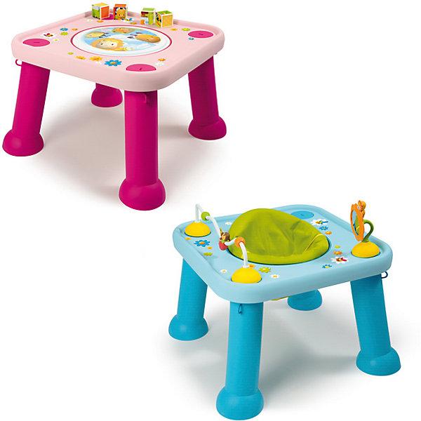 Стол-трансформер, SmobyРазвивающие центры<br>Характеристики товара:<br><br>• возраст от 6 месяцев<br>• материал: пластик<br>• в комплекте: стол, аксессуары<br>• стульчик вращается на 360 грудасов<br>• игрушки крепятся к столешнице с помощью присосок<br>• легко разбирается и собирается<br>• размер столика 60х60х45 см<br>• размер упаковки 60х60х20 см<br>• страна бренда: Франция<br>• страна производитель: Франция<br>• товар представлен в ассортименте<br><br>Стол-трансформер Smoby — удивительный столик, который сочетает в себе 2 функции: стола для игр и стульчика. Для маленьких детей используется в качестве стульчика. Стульчик вращается на 360 градусов, что позволяет использовать всю игровую поверхность. Когда малыш подрастет, отверстие для стула закрывается панелью с изображениями, и стол можно использовать для занятий, рисования, обучающих игр. На столешнице расположены игрушки для развития мелкой моторики рук, тактильных ощущений, логического мышления.<br><br>Игрушка изготовлена из качественного безопасного пластика. На столе отсутствуют острые детали, что исключает возможность случайных травм.<br><br>Стол-трансформер Smoby можно приобрести в нашем интернет-магазине.<br><br>Ширина мм: 600<br>Глубина мм: 200<br>Высота мм: 600<br>Вес г: 4500<br>Возраст от месяцев: 6<br>Возраст до месяцев: 2147483647<br>Пол: Унисекс<br>Возраст: Детский<br>SKU: 5544435