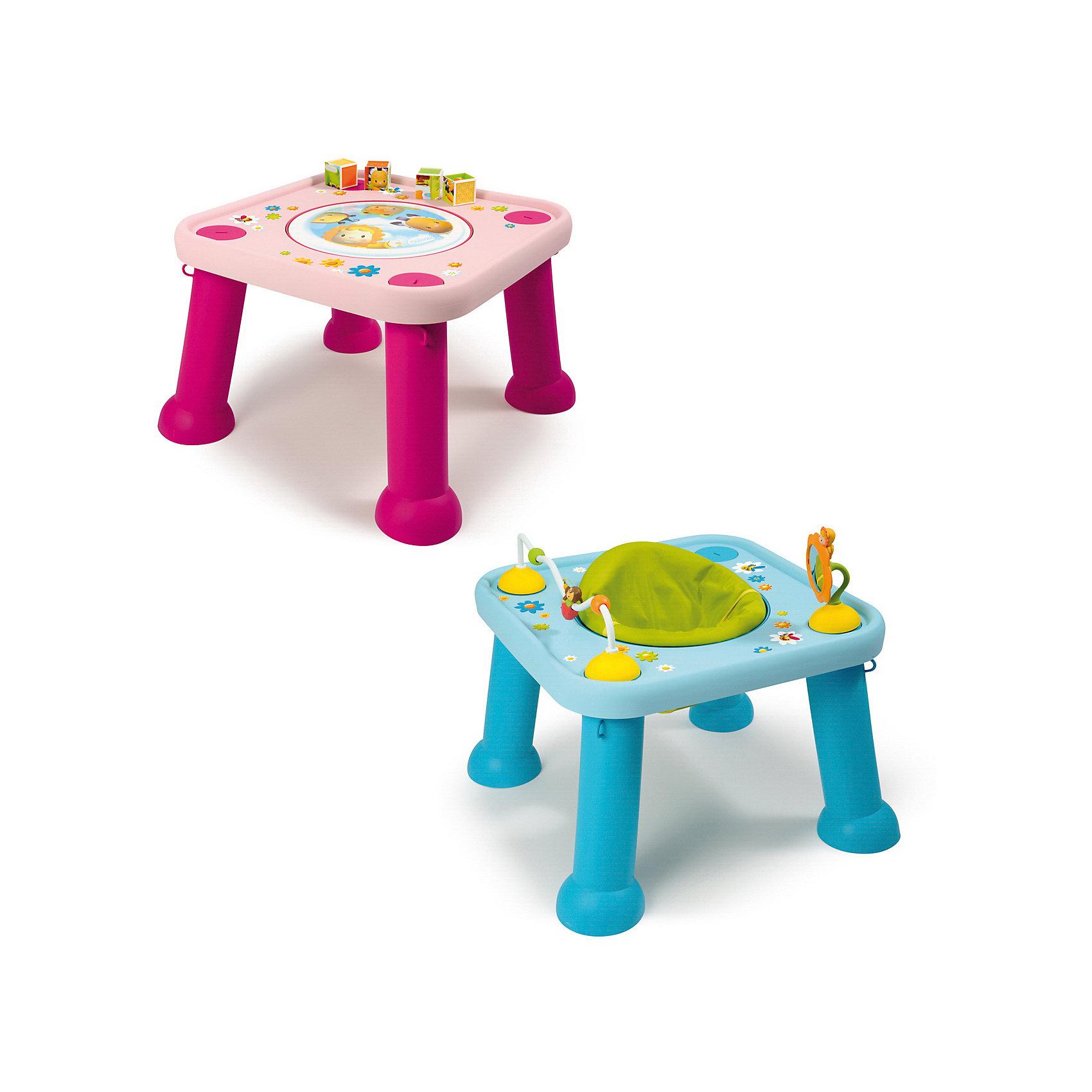 Стол-трансформер, SmobyРазвивающие игрушки<br>Характеристики товара:<br><br>• возраст от 6 месяцев<br>• материал: пластик<br>• в комплекте: стол, аксессуары<br>• стульчик вращается на 360 грудасов<br>• игрушки крепятся к столешнице с помощью присосок<br>• легко разбирается и собирается<br>• размер столика 60х60х45 см<br>• размер упаковки 60х60х20 см<br>• страна бренда: Франция<br>• страна производитель: Франция<br>• товар представлен в ассортименте<br><br>Стол-трансформер Smoby — удивительный столик, который сочетает в себе 2 функции: стола для игр и стульчика. Для маленьких детей используется в качестве стульчика. Стульчик вращается на 360 градусов, что позволяет использовать всю игровую поверхность. Когда малыш подрастет, отверстие для стула закрывается панелью с изображениями, и стол можно использовать для занятий, рисования, обучающих игр. На столешнице расположены игрушки для развития мелкой моторики рук, тактильных ощущений, логического мышления.<br><br>Игрушка изготовлена из качественного безопасного пластика. На столе отсутствуют острые детали, что исключает возможность случайных травм.<br><br>Стол-трансформер Smoby можно приобрести в нашем интернет-магазине.<br><br>Ширина мм: 600<br>Глубина мм: 200<br>Высота мм: 600<br>Вес г: 4500<br>Возраст от месяцев: 6<br>Возраст до месяцев: 2147483647<br>Пол: Унисекс<br>Возраст: Детский<br>SKU: 5544435