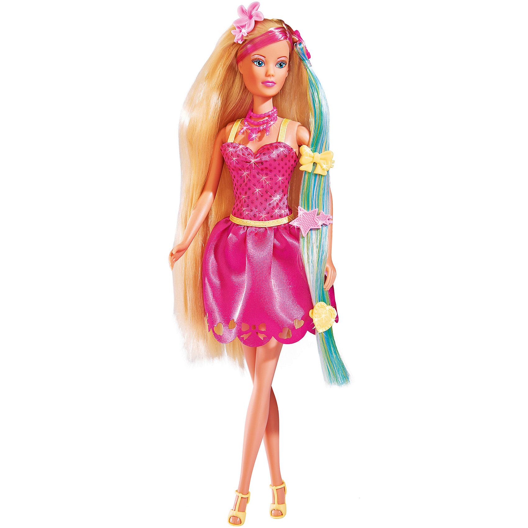 Кукла Штеффи Стильные волосы, 29 см, SimbaКуклы-модели<br>Характеристики товара:<br><br>• возраст от 3 лет<br>• материал: пластик, текстиль<br>• в комплекте: кукла, аксессуары<br>• высота куклы 29 см<br>• размер упаковки 33х10х5 см<br>• страна бренда: Германия<br>• страна производитель: Китай<br><br>Кукла Штеффи «Стильные волосы» Simba одета в яркое розовое платье и стильные туфельки. У Штеффи густые длинные волосы, которые девочка сможет расчесывать, заплетать и украшать. В наборе дополнительная прядь для волос и заколочки для придания кукле неповторимого образа.<br><br>Куклу Штеффи «Стильные волосы» Simba можно приобрести в нашем интернет-магазине.<br><br>Ширина мм: 50<br>Глубина мм: 325<br>Высота мм: 120<br>Вес г: 2580<br>Возраст от месяцев: 36<br>Возраст до месяцев: 2147483647<br>Пол: Женский<br>Возраст: Детский<br>SKU: 5544436