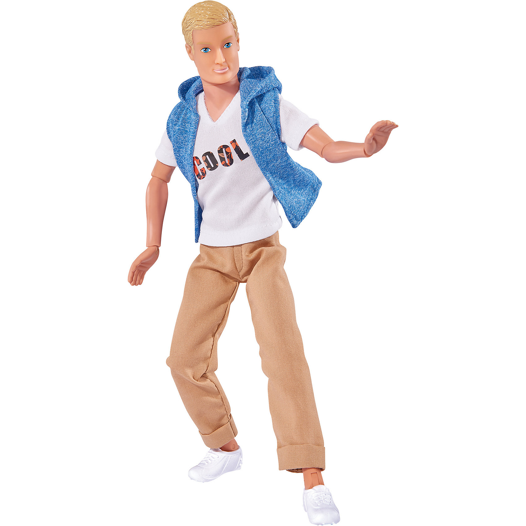 Кукла Кевин. Городская мода, 30 см, SimbaКуклы-модели<br>Характеристики товара:<br><br>• возраст от 3 лет<br>• материал: пластик, текстиль<br>• высота куклы 30 см<br>• руки и ноги подвижны<br>• размер упаковки 32,8х12,4х5,3 см<br>• страна бренда: Германия<br>• страна производитель: Китай<br><br>Кукла Кевин Городская мода Simba поможет девочке разнообразить ролевые игры, придумать сюжеты и истории, развивая воображение и фантазию. Кевин одет в городском модном стиле. Он носит коричневые брюки, белую футболку с надписью и голубую жилетку. Руки и ноги куклы подвижны. Одежду можно снять и придумать Кевину другой образ. <br><br>Куклу Кевин Городская мода Simba можно приобрести в нашем интернет-магазине.<br><br>Ширина мм: 120<br>Глубина мм: 50<br>Высота мм: 325<br>Вес г: 259<br>Возраст от месяцев: 36<br>Возраст до месяцев: 72<br>Пол: Женский<br>Возраст: Детский<br>SKU: 5544437