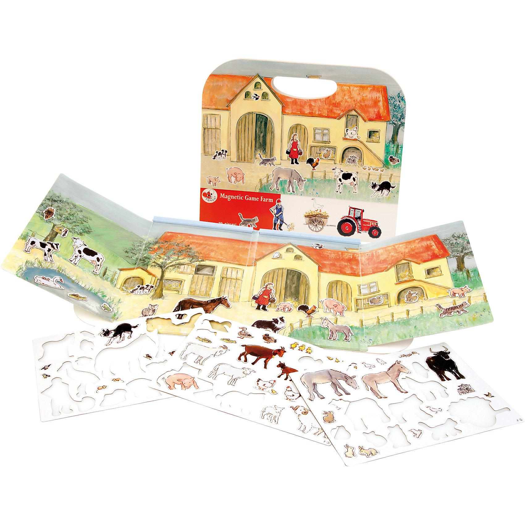 Магнитная игра Ферма, Egmont ToysИгры для дошкольников<br>Характеристики:<br><br>• возраст: от 3-х лет;<br>• материал: картон, магнит;<br>• комплектация: магнитная книжка-основа, 70 магнитных деталей;<br>• размер игры в развёрнутом виде: 25х67,5 см;<br>• вес: 440 г;<br>• размер упаковки: 25х24х1 см;<br>• особенности ухода: сухая чистка.<br><br>Магнитная игра  «Ферма», Egmont Toys – это набор магнитных элементов, предназначенный для сюжетно-ролевых и обучающих игр. Набор также можно использовать в качестве настольной игры.<br><br>Набор состоит из картонной книжки-основы, на которую нанесено изображение фермы, фермерских построек и загонов для животных. К основе прилагаются 70 элементов с изображением животных и фермерской атрибутики. <br><br>Магнитная игра  «Ферма», Egmont Toys – это целое методическое пособие, которое позволит в легкой игровой форме познакомить ребенка с особенностями сельского хозяйства. Игра имеет огромное количество вариантов: «узнай животного», «где чей домик», «кто что ест» и др.<br><br>Магнитную игру  «Ферма», Egmont Toys можно купить в нашем интернет-магазине.<br><br>Ширина мм: 250<br>Глубина мм: 240<br>Высота мм: 10<br>Вес г: 440<br>Возраст от месяцев: 36<br>Возраст до месяцев: 2147483647<br>Пол: Унисекс<br>Возраст: Детский<br>SKU: 5544491
