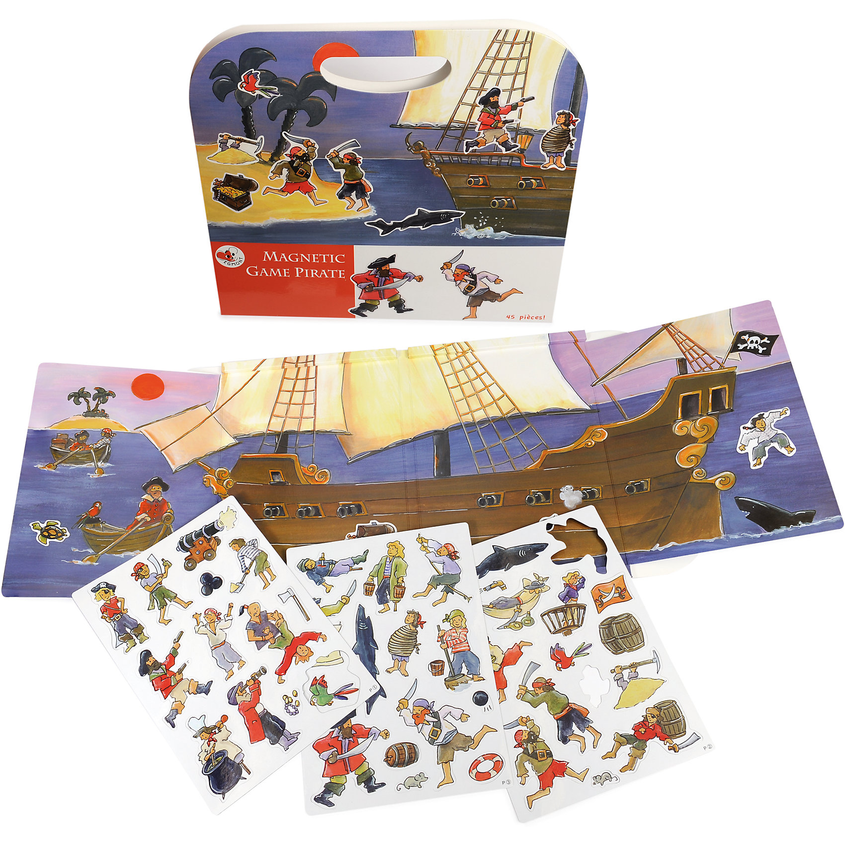 Магнитная игра Пиратский корабль, Egmont ToysИгры для развлечений<br>Характеристики:<br><br>• возраст: от 3-х лет;<br>• материал: картон, магнит;<br>• комплектация: магнитная книжка-основа, 45 деталей;<br>• размер игры в развёрнутом виде: 25х67,5 см;<br>• вес: 400 г;<br>• размер упаковки: 25х24х1 см;<br><br>Магнитная игра  «Пиратский корабль», Egmont Toys – это набор магнитных элементов, предназначенный для сюжетно-ролевых и обучающих игр. Набор также можно использовать в качестве настольной игры.<br><br>Набор состоит из картонной книжки-основы, на которую нанесено изображение большого пиратского корабля, дрейфующего по морским волнам. К основе прилагаются элементы с изображением морской и пиратской тематики.<br><br>Магнитная игра  «Пиратский корабль», Egmont Toys – это целое методическое пособие, которое позволит в легкой игровой форме познакомить ребенка историческими фактами и реалиями о морских пиратах. Набор имеет множество вариантов игр. <br><br>Магнитную игру  «Пиратский корабль», Egmont Toys можно купить в нашем интернет-магазине.<br><br>Ширина мм: 250<br>Глубина мм: 240<br>Высота мм: 10<br>Вес г: 400<br>Возраст от месяцев: 36<br>Возраст до месяцев: 2147483647<br>Пол: Мужской<br>Возраст: Детский<br>SKU: 5544494