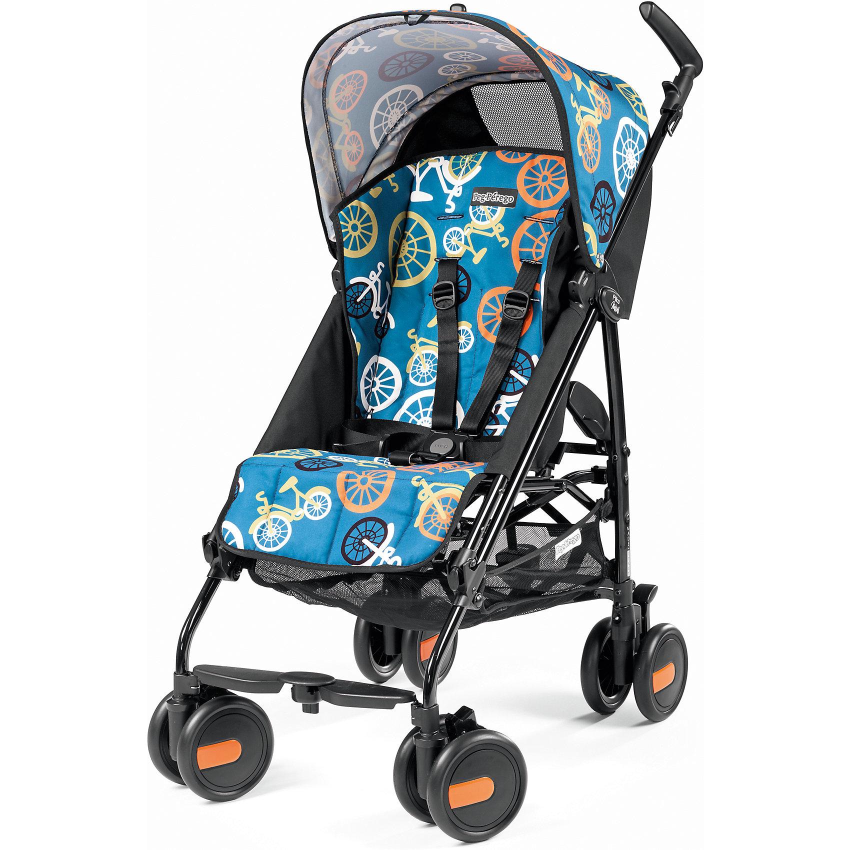 Коляска-трость Peg-Perego Pliko Mini с бампером, Bikes ColorКоляски-трости<br>Коляска-трость Pliko Mini, Peg-Perego - компактная прогулочная коляска с небольшими габаритами, которая отвечает всем требованиям комфорта и безопасности малыша. Очень практична для использования в любой ситуации. Коляска оснащена удобным для ребенка сиденьем с мягкими 5- точечными ремнями безопасности. Дополнительно можно приобрести мягкий съемный бампер (отдельно бампер без коляски не продается!). Спинка легко раскладывается в 3 положениях вплоть до горизонтального. Опора для ножек регулируется, что обеспечивает<br>малышу правильную осанку. Большой капюшон со смотровым окном защитит от солнца и дождя.  <br><br>Для родителей предусмотрены удобные ручки и вместительная корзина для принадлежностей малыша. Коляска оснащена 4 двойными колесами (передние - поворотные с возможностью фиксации, задние - с тормозом). Благодаря узкой колесной базе коляска без труда преодолевает<br>даже самые узкие проемы дверей, лифтов и турникетов. Легко и компактно складывается тростью, что позволяет использовать ее во время поездок и путешествий. Обивку можно снимать и стирать. Подходит для детей от 6 мес. до 3 лет.<br><br><br>Особенности:<br><br>- удобна для транспортировки и хранения;<br>- объемный капюшон от солнца и дождя;<br>- спинка сиденья регулируется 3 положениях;<br>- регулируемая подножка; <br>- корзина для вещей ребенка;<br>- передние поворотные колеса с возможностью фиксации;<br>- узкая колесная база;<br>- легко и компактно складывается тростью.<br><br><br>Дополнительная информация:<br><br>- Цвет: Bikes Color.<br>- Материал: текстиль, металл, пластик.<br>- Диаметр колес: 14,6 см.<br>- Максимальная длина спального места: 87 см.<br>- Размер в разложенном виде: 84 х 50 х 101 см.<br>- Размер в сложенном виде: 34 х 32 х 94 см.<br>- Вес: 5,7 кг.<br><br>Коляску-трость Pliko Mini + бампер передний, Peg-Perego можно купить в нашем интернет-магазине.<br><br>Ширина мм: 470<br>Глубина мм: 290<br>Высота мм: 1025