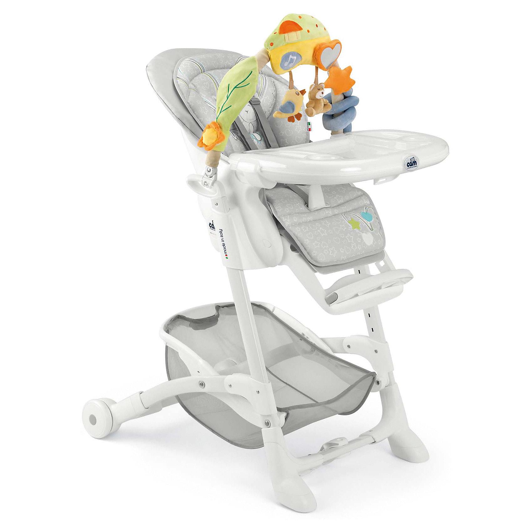 Стульчик для кормления Istante Зайчик, CAM, серыйот рождения<br>Очень удобный и комфортный стульчик для кормления обязательно понравится малышам! Мягкое сиденье с регулируемой в пяти положениях спинкой, страховочными ремнями и удобным разделителем для ног обеспечит малышам комфорт и безопасность. Стульчик имеет колесики, облегчающие перемещение по квартире; удобную подставку для ножек ребенка; съемный стол можно мыть в посудомоечной машине. Стул выполнен в приятной цветовой гамме, изготовлен из высококачественных прочных и экологичных материалов. Передняя часть рамы снабжена нескользящими ножками, которые обеспечивают дополнительную безопасность. Под сиденьем располагается большая корзина для игрушек и вещей. <br><br>Дополнительная информация:<br><br>- Материал: пластик, металл, <br>- Размер: 80x65x105 см.<br>- Колесики.<br>- Вместительная корзина внизу. <br>- Нескользящие ножки.<br>- Регулируемый наклон спинки (5 положений, до положения лежа).<br>- Компактно складывается.<br>- Съемный стол (можно мыть в посудомоечной машине).<br>- Регулировка по высоте в 5 положениях. <br>- Регулируемая подножка.<br>- 5-ти точечные ремни безопасности.<br>- Чехол снимается и легко моется.<br><br>Стульчик для кормления Istante от CAM, голубой, можно купить в нашем магазине.<br><br>Ширина мм: 587<br>Глубина мм: 272<br>Высота мм: 970<br>Вес г: 12500<br>Возраст от месяцев: 0<br>Возраст до месяцев: 36<br>Пол: Унисекс<br>Возраст: Детский<br>SKU: 5545247