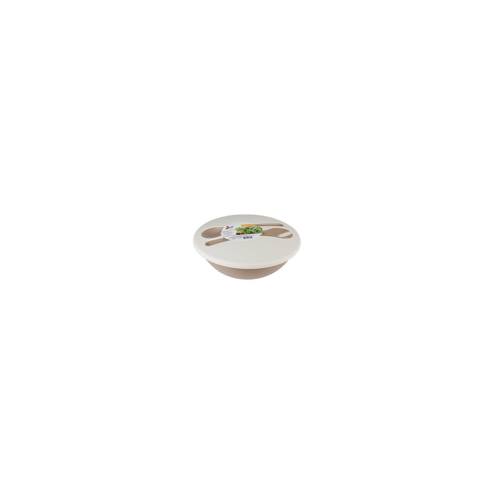 Салатник Dolche 3 л с крышкой и приборами, GiarettiПосуда<br>Салатник Dolche 3 л с крышкой и приборами, Giaretti<br><br>Характеристики:<br><br>• Цвет: бежевый, коричневый<br>• Материал: пластик<br>• В комплекте: 1 салатник, крышка, приборы<br>• Объем: 3 литра<br><br>Благодаря яркому интересному дизайну этот салатник можно использовать как для приготовления блюд, так и для их подачи на стол. Он имеет литраж 3 л и может использоваться как в большой компании, так и на семейном обеде. Благодаря приборам, идущим в комплектации, его удобно брать с собой, чтобы перемешивать ингредиенты  на пикнике за городом. Приборы плотно крепятся к крышке и позволяют легко и удобно транспортировать салатник. Все элементы набора изготовлены из высококачественного пищевого пластика.<br><br>Салатник Dolche 3 л с крышкой и приборами, Giaretti можно купить в нашем интернет-магазине.<br><br>Ширина мм: 295<br>Глубина мм: 280<br>Высота мм: 110<br>Вес г: 241<br>Возраст от месяцев: 216<br>Возраст до месяцев: 1188<br>Пол: Унисекс<br>Возраст: Детский<br>SKU: 5545620