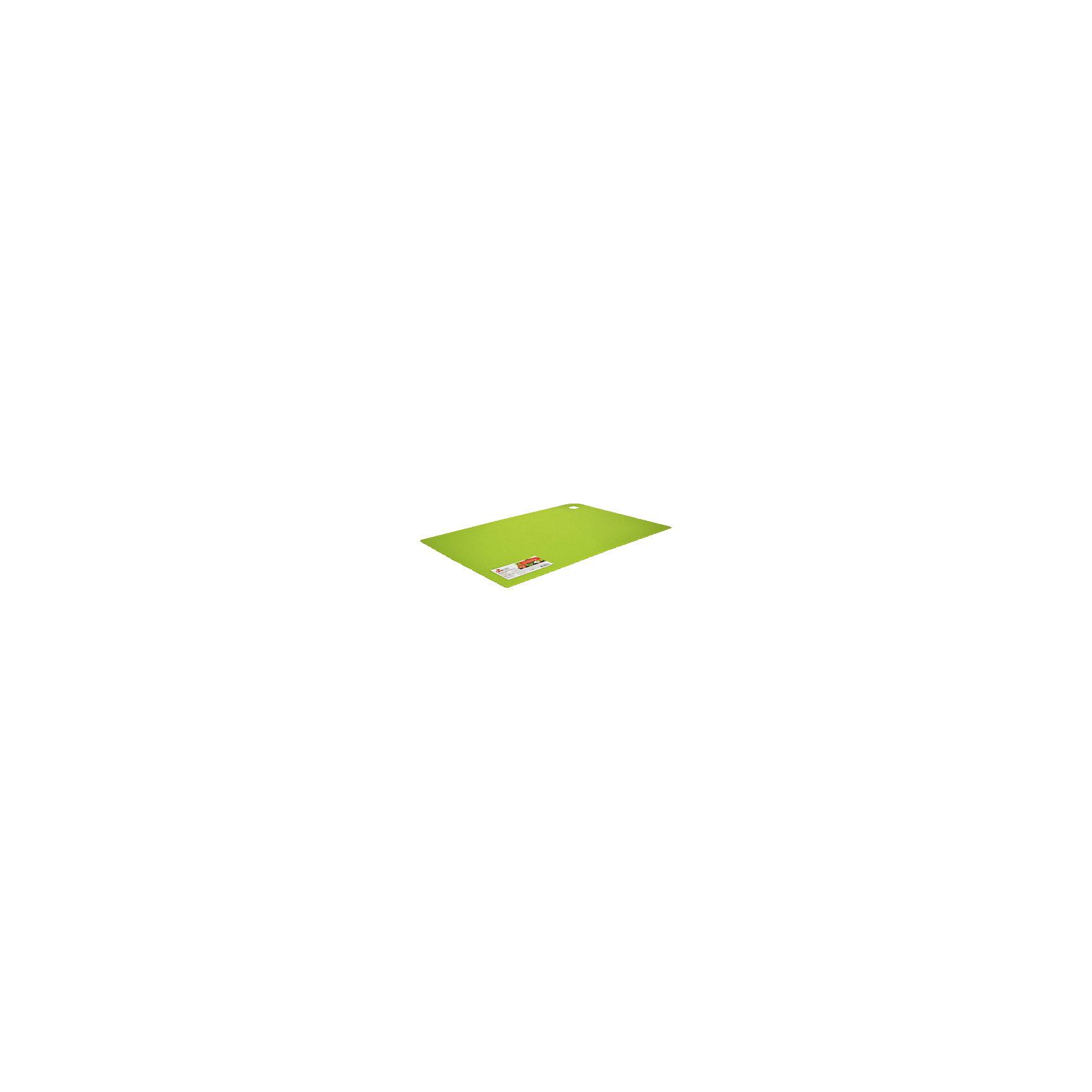 Доска разделочная Elastico 35*25 см, GiarettiПосуда<br>Доска разделочная Elastico 35*25 см, Giaretti<br><br>Характеристики:<br><br>• Цвет: зеленый<br>• Материал: пластик<br>• В комплекте: 1 штука<br>• Размер: 35х25 см<br><br>Эти компактные разделочные доски от Giaretti позволят вам легко навести порядок на вашей кухне и не отвлекаться на мелочи. Благодаря своей гибкости, эти доски можно использовать, чтобы переложить нарезанные ингредиенты, не рассыпав содержимое. Изготовлены они из высококачественного пищевого пластика, который безопасен  для здоровья. <br><br>Доска разделочная Elastico 35*25 см, Giaretti можно купить в нашем интернет-магазине.<br><br>Ширина мм: 350<br>Глубина мм: 250<br>Высота мм: 5<br>Вес г: 366<br>Возраст от месяцев: 216<br>Возраст до месяцев: 1188<br>Пол: Унисекс<br>Возраст: Детский<br>SKU: 5545624