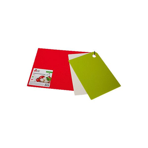 Набор досок разделочных Trio 25*17см (2 шт.) + 35*25 см (1 шт.), GiarettiКухонная утварь<br>Набор досок разделочных Trio 25*17см (2 шт.) + 35*25 см (1 шт.), Giaretti<br><br>Характеристики:<br><br>• Цвет: зеленый, белый, красный<br>• Материал: пластик<br>• В комплекте: 3 штуки<br>• Размер: 25х17 (2 доски) и 35х25 (одна доска) см<br><br>Эти компактные разделочные доски от Giaretti позволят вам легко навести порядок на вашей кухне и не отвлекаться на мелочи. Благодаря своей гибкости, эти доски можно использовать, чтобы переложить нарезанные ингредиенты, не рассыпав содержимое. Изготовлены они из высококачественного пищевого пластика, который безопасен  для здоровья. В комплекте три штуки разных размеров для большего удобства.<br><br>Набор досок разделочных Trio 25*17см (2 шт.) + 35*25 см (1 шт.), Giaretti можно купить в нашем интернет-магазине.<br>Ширина мм: 350; Глубина мм: 250; Высота мм: 6; Вес г: 358; Возраст от месяцев: 216; Возраст до месяцев: 1188; Пол: Унисекс; Возраст: Детский; SKU: 5545627;