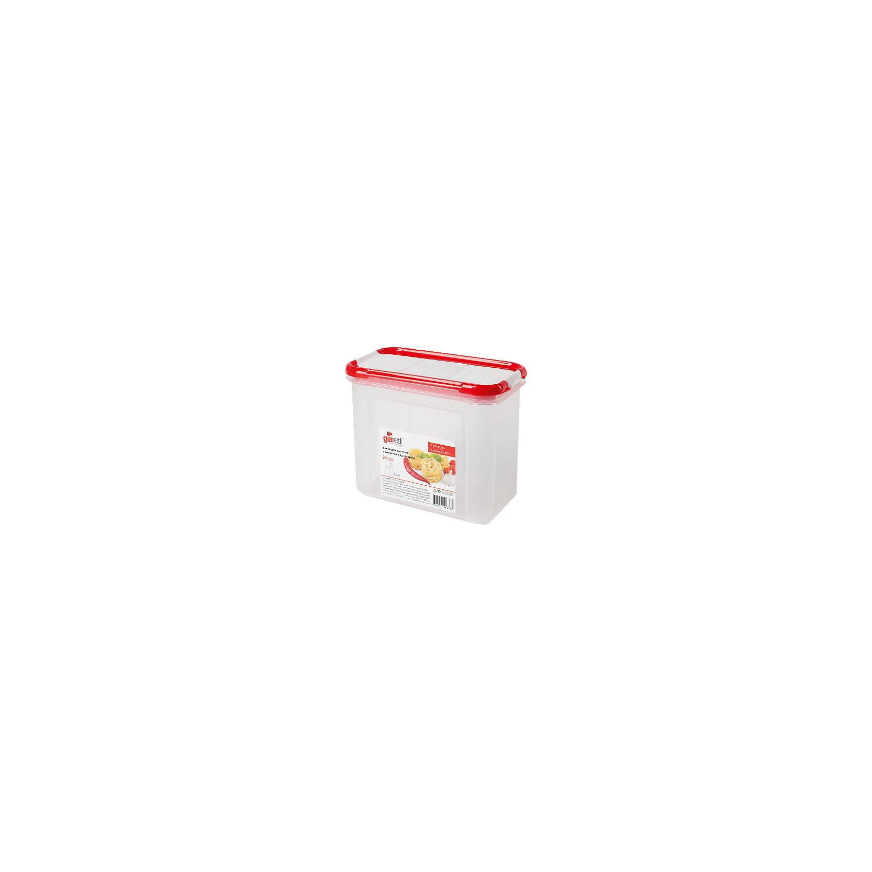 Банка для сыпучих продуктов с дозатором Krupa 1 л, GiarettiПосуда<br>Банка для сыпучих продуктов с дозатором Krupa 1 л, Giaretti<br><br>Характеристики:<br><br>• Материал: пластик<br>• В комплекте: 1 штука<br>• Объем: 1 литр<br>• Используется: для сыпучих продуктов<br><br>Банки данной серии снабжены плотной крышкой, благодаря чему в них удобно хранить даже специи, ведь они не пропускают запаха. Так же банка может использоваться для хранения сыпучих продуктов - круп, сахара, макарон и тд. Благодаря тому, что изделие изготовлено из высококачественного пищевого пластика, оно не влияет на вкус и запах хранящихся продуктов, а удобная форма позволят хранить не использующиеся банки, ставя их друг в друга для экономии пространства. Банка оснащена дозатором для высыпания. <br><br>Банка для сыпучих продуктов с дозатором Krupa 1 л, Giaretti можно купить в нашем интернет-магазине.<br><br>Ширина мм: 172<br>Глубина мм: 88<br>Высота мм: 133<br>Вес г: 156<br>Возраст от месяцев: 216<br>Возраст до месяцев: 1188<br>Пол: Унисекс<br>Возраст: Детский<br>SKU: 5545631