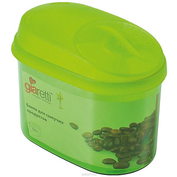 Банка для сыпучих продуктов с дозатором 0,8 л, GiarettiКухонная утварь<br>Банка для сыпучих продуктов с дозатором 0,8 л, Giaretti<br><br>Характеристики:<br><br>• Материал: пластик<br>• В комплекте: 1 штука<br>• Объем: 0,8 литра<br>• Используется: для сыпучих продуктов<br><br>Банки данной серии снабжены плотной крышкой, благодаря чему в них удобно хранить даже специи, ведь они не пропускают запаха. Так же банка может использоваться для хранения сыпучих продуктов - круп, сахара, макарон и тд. Благодаря тому, что изделие изготовлено из высококачественного пищевого пластика, оно не влияет на вкус и запах хранящихся продуктов, а удобная форма позволят хранить не использующиеся банки, ставя их друг в друга для экономии пространства. Банка оснащена дозатором для высыпания. <br><br>Банка для сыпучих продуктов с дозатором 0,8 л, Giaretti можно купить в нашем интернет-магазине.<br>Ширина мм: 155; Глубина мм: 90; Высота мм: 120; Вес г: 135; Возраст от месяцев: 216; Возраст до месяцев: 1188; Пол: Унисекс; Возраст: Детский; SKU: 5545633;
