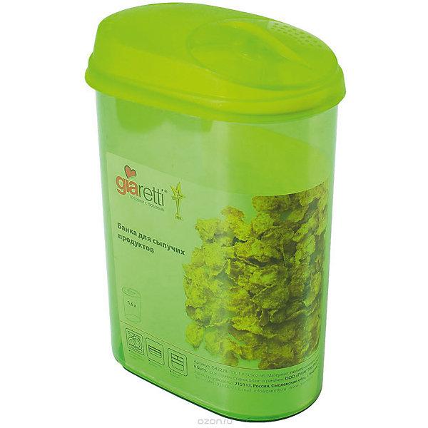 Банка для сыпучих продуктов с дозатором 1,6 л, GiarettiКухонная утварь<br>Банка для сыпучих продуктов с дозатором 1,6 л, Giaretti<br><br>Характеристики:<br><br>• Материал: пластик<br>• В комплекте: 1 штука<br>• Объем: 1,6 литра<br>• Используется: для сыпучих продуктов<br><br>Банки данной серии снабжены плотной крышкой, благодаря чему в них удобно хранить даже специи, ведь они не пропускают запаха. Так же банка может использоваться для хранения сыпучих продуктов - круп, сахара, макарон и тд. Благодаря тому, что изделие изготовлено из высококачественного пищевого пластика, оно не влияет на вкус и запах хранящихся продуктов, а удобная форма позволят хранить не использующиеся банки, ставя их друг в друга для экономии пространства. Банка оснащена дозатором для высыпания. <br><br>Банка для сыпучих продуктов с дозатором 1,6 л, Giaretti можно купить в нашем интернет-магазине.<br><br>Ширина мм: 155<br>Глубина мм: 90<br>Высота мм: 210<br>Вес г: 193<br>Возраст от месяцев: 216<br>Возраст до месяцев: 1188<br>Пол: Унисекс<br>Возраст: Детский<br>SKU: 5545634