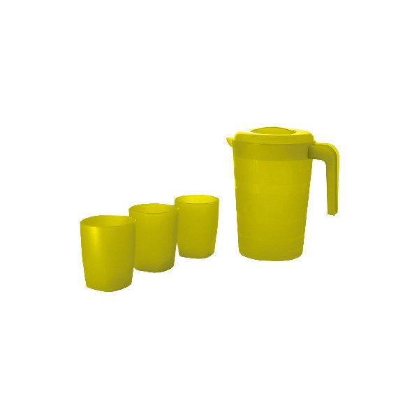 Кувшин для воды  Фазенда 2л и 3 стакана, Plastic CentreКухонная утварь<br>Кувшин для воды Фазенда 2л и 3 стакана, PlasticCentre<br><br>Характеристики:<br><br>• Материал: пластик<br>• Цвет: зеленый<br>• В комплекте: 1 кувшин, 3 стакана<br><br>Этот удобный комплект, состоящий из кувшина и трех стаканов, выполнен из пластика высокого качества, который не бьется, устойчив к царапинам и легко моется. Его можно использовать как дома, так и при поездках на природу, наливая в него сок или иные напитки. Кувшин имеет красочную расцветку и стильный дизайн.<br><br>Кувшин для воды Фазенда 2л и 3 стакана, PlasticCentre можно купить в нашем интернет-магазине.<br>Ширина мм: 205; Глубина мм: 150; Высота мм: 225; Вес г: 255; Возраст от месяцев: 216; Возраст до месяцев: 1188; Пол: Унисекс; Возраст: Детский; SKU: 5545689;