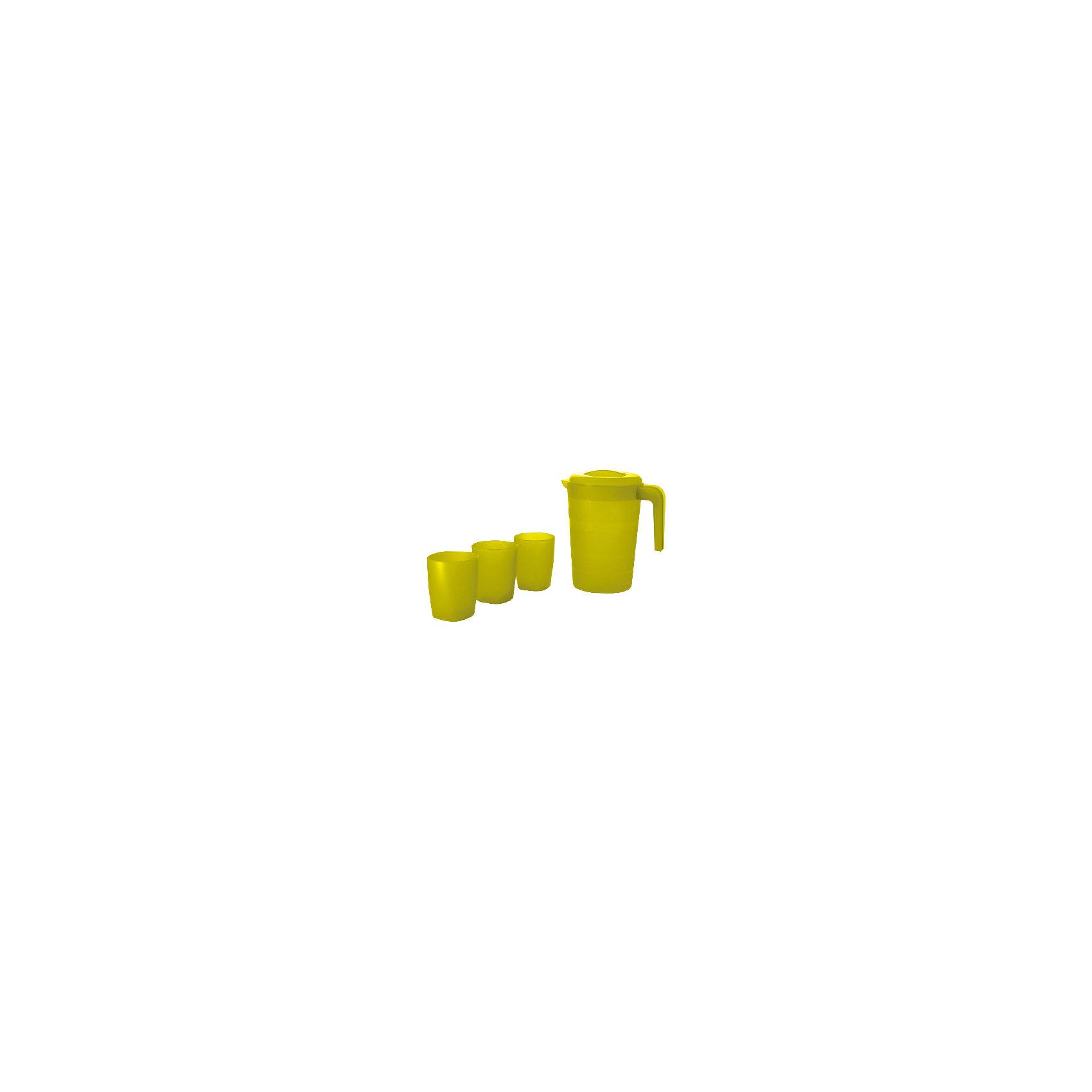 Кувшин для воды  Фазенда 2л и 3 стакана, Plastic CentreПосуда<br>Кувшин для воды Фазенда 2л и 3 стакана, PlasticCentre<br><br>Характеристики:<br><br>• Материал: пластик<br>• Цвет: зеленый<br>• В комплекте: 1 кувшин, 3 стакана<br><br>Этот удобный комплект, состоящий из кувшина и трех стаканов, выполнен из пластика высокого качества, который не бьется, устойчив к царапинам и легко моется. Его можно использовать как дома, так и при поездках на природу, наливая в него сок или иные напитки. Кувшин имеет красочную расцветку и стильный дизайн.<br><br>Кувшин для воды Фазенда 2л и 3 стакана, PlasticCentre можно купить в нашем интернет-магазине.<br><br>Ширина мм: 205<br>Глубина мм: 150<br>Высота мм: 225<br>Вес г: 255<br>Возраст от месяцев: 216<br>Возраст до месяцев: 1188<br>Пол: Унисекс<br>Возраст: Детский<br>SKU: 5545689