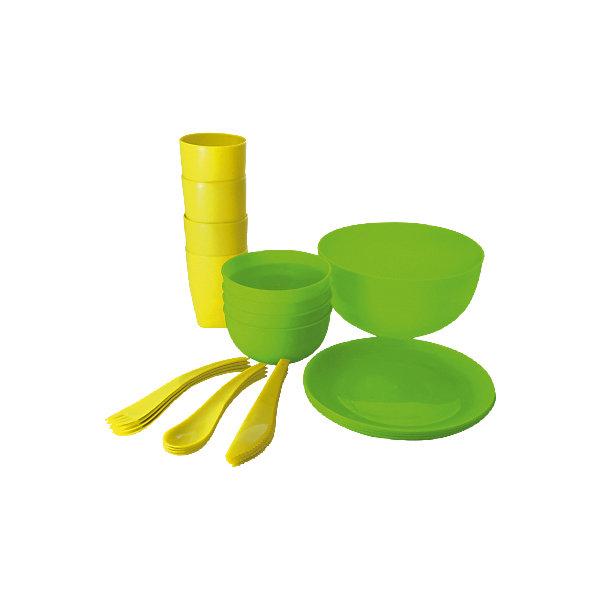Набор для пикника и барбекю на 4 персоны, Plastic CentreВ дорогу<br>Набор для пикника и барбекю на 4 персоны, Plastic Centre<br><br>Характеристики:<br><br>• Материал: пластик<br>• Цвет: зеленый<br>• В комплекте: 1 большая миска, 4 маленькие миски, 4 тарелки, 4 стакана, столовые приборы<br>• Количество человек: 4<br><br>Этот удобный набор для пикника имеет в комплекте все, что может понадобиться для загородной поездки.  В нем имеются наборы на 6 персон, а сам он выполнен из высококачественного пластика, который безопасен, легко моется и устойчив к царапинам. По этой причине данный набор подходит для многократного использования. В комплекте имеются: 1 большая миска, 4 маленькие миски, 4 тарелки, 4 стакана, а также столовые приборы.<br><br>Набор для пикника и барбекю на 4 персоны, Plastic Centre можно купить в нашем интернет-магазине.<br><br>Ширина мм: 270<br>Глубина мм: 250<br>Высота мм: 210<br>Вес г: 660<br>Возраст от месяцев: 216<br>Возраст до месяцев: 1188<br>Пол: Унисекс<br>Возраст: Детский<br>SKU: 5545691