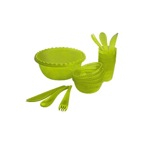 Набор для пикника Фазенда на 4 персоны, Plastic CentreВ дорогу<br>Набор для пикника Фазенда на 4 персоны, Plastic Centre<br><br>Характеристики:<br><br>• Материал: пластик<br>• Цвет: зеленый<br>• В комплекте: 1 большая миска, 4 маленькие миски, 4 стакана, столовые приборы<br>• Количество человек: 4<br><br>Этот удобный набор для пикника имеет в комплекте все, что может понадобиться для загородной поездки.  В нем имеются наборы на 6 персон, а сам он выполнен из высококачественного пластика, который безопасен, легко моется и устойчив к царапинам. По этой причине данный набор подходит для многократного использования. В комплекте имеются: 1 большая миска, 4 маленькие миски, 4 стакана, а также столовые приборы.<br><br>Набор для пикника Фазенда на 4 персоны, Plastic Centre можно купить в нашем интернет-магазине.<br><br>Ширина мм: 250<br>Глубина мм: 250<br>Высота мм: 116<br>Вес г: 489<br>Возраст от месяцев: 216<br>Возраст до месяцев: 1188<br>Пол: Унисекс<br>Возраст: Детский<br>SKU: 5545692