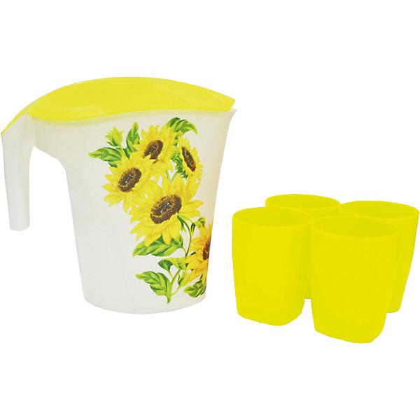 Кувшин Подсолнухи 3 л и 4 стакана, Plastic CentreКухонная утварь<br>Кувшин Подсолнухи 3 л и 4 стакана, Plastic Centre<br><br>Характеристики:<br><br>• Материал: пластик<br>• Цвет: желтый<br>• В комплекте: 1 кувшин, 4 стакана<br>• Объем: 3 литра<br><br>Кувшин подойдет для хранения соков или воды. Крепкая и очень удобная ручка делает процесс наливания воды доступным даже для детей. Красивый дизайн кувшина, форма и его цвет позволят ему вписаться в любой интерьер. Сделан кувшин из прочного пластика, которые не выделяет вредных веществ и не отражается на вкусе воды. Также в комплект входят 4 удобных стакана.<br><br>Кувшин Подсолнухи 3 л и 4 стакана, Plastic Centre можно купить в нашем интернет-магазине.<br><br>Ширина мм: 248<br>Глубина мм: 155<br>Высота мм: 235<br>Вес г: 285<br>Возраст от месяцев: 216<br>Возраст до месяцев: 1188<br>Пол: Унисекс<br>Возраст: Детский<br>SKU: 5545699