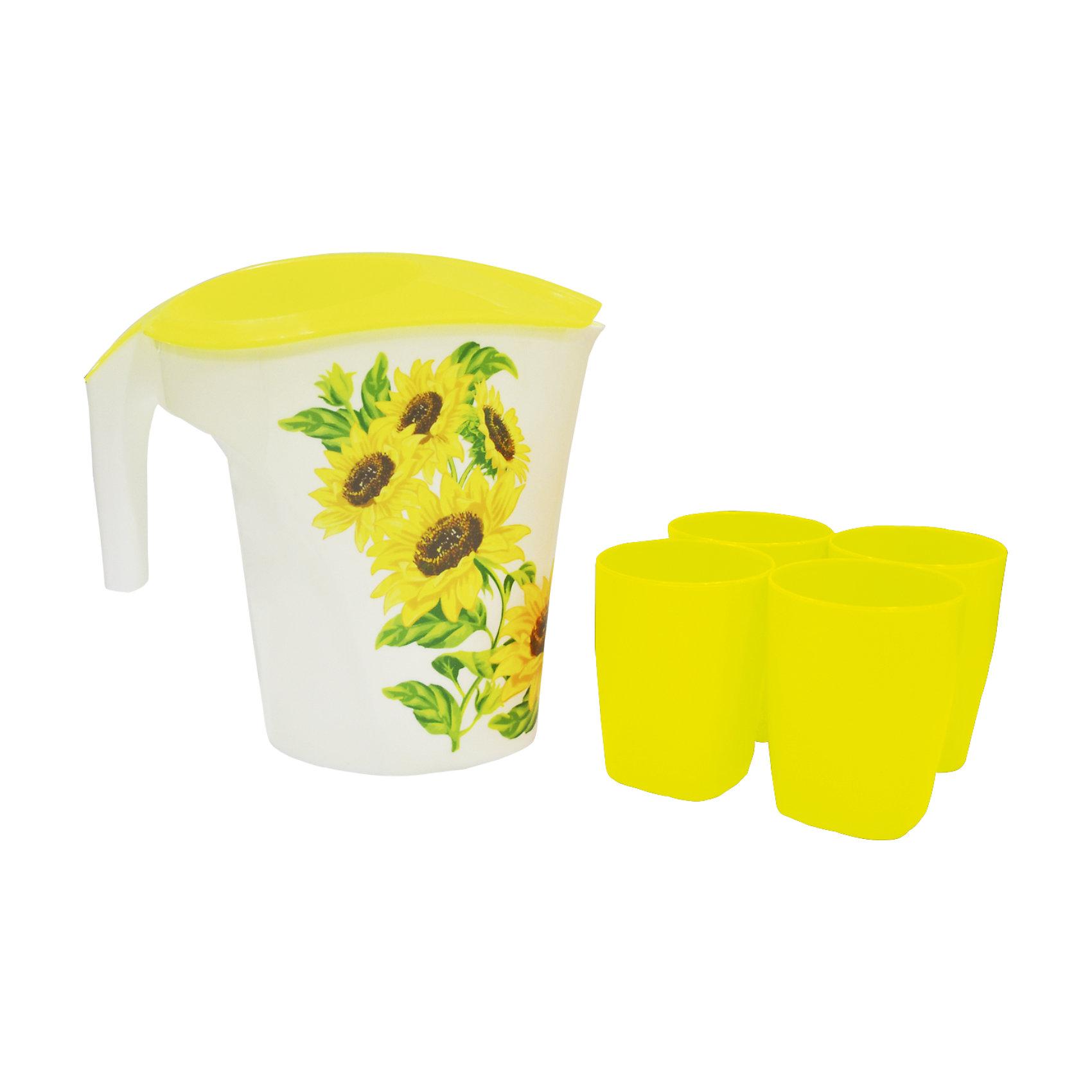 Кувшин Подсолнухи 3 л и 4 стакана, Plastic CentreПосуда<br>Кувшин Подсолнухи 3 л и 4 стакана, Plastic Centre<br><br>Характеристики:<br><br>• Материал: пластик<br>• Цвет: желтый<br>• В комплекте: 1 кувшин, 4 стакана<br>• Объем: 3 литра<br><br>Кувшин подойдет для хранения соков или воды. Крепкая и очень удобная ручка делает процесс наливания воды доступным даже для детей. Красивый дизайн кувшина, форма и его цвет позволят ему вписаться в любой интерьер. Сделан кувшин из прочного пластика, которые не выделяет вредных веществ и не отражается на вкусе воды. Также в комплект входят 4 удобных стакана.<br><br>Кувшин Подсолнухи 3 л и 4 стакана, Plastic Centre можно купить в нашем интернет-магазине.<br><br>Ширина мм: 248<br>Глубина мм: 155<br>Высота мм: 235<br>Вес г: 285<br>Возраст от месяцев: 216<br>Возраст до месяцев: 1188<br>Пол: Унисекс<br>Возраст: Детский<br>SKU: 5545699