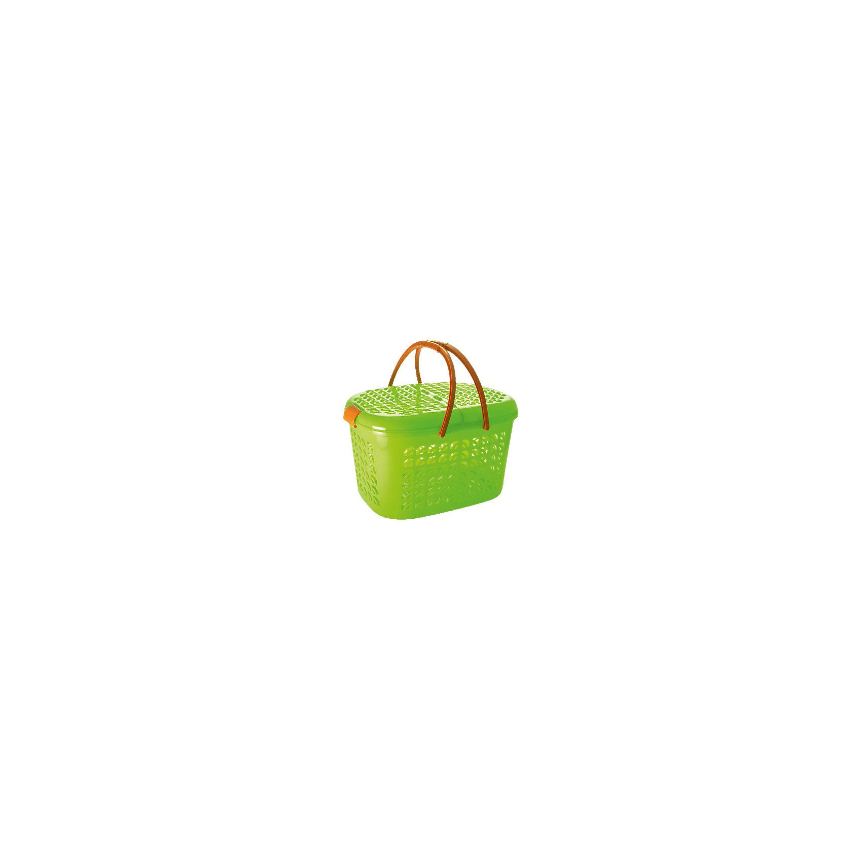 Корзина-переноска большая, Plastic CentreВ дорогу<br>Корзина-переноска большая, PlasticCentre<br><br>Характеристики:<br><br>• Материал: пластик<br>• Цвет: зеленый<br>• В комплекте: 1 штука<br>• Размер: 51х34х27 см<br><br>Эта очаровательная корзина-переноска многофункциональна и может помочь вам в самых разных ситуациях. Ее можно использовать для хранения продуктов,  детских игрушек или же для переноски животных. Крышка и стенки изделия имеют фигурные отверстия, а дно - сплошное. Крышки открываются с двух сторон.<br><br>Корзина-переноска большая, PlasticCentre можно купить в нашем интернет-магазине.<br><br>Ширина мм: 510<br>Глубина мм: 345<br>Высота мм: 275<br>Вес г: 1042<br>Возраст от месяцев: 216<br>Возраст до месяцев: 1188<br>Пол: Унисекс<br>Возраст: Детский<br>SKU: 5545703