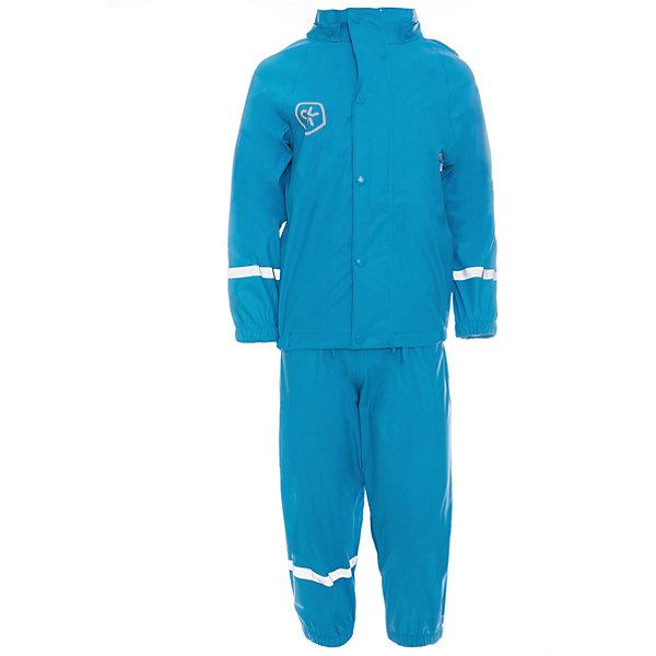 Непромокаемый комплект для девочки Color KidsВерхняя одежда<br>Характеристики товара:<br><br>• цвет: голубой<br>• состав: 100% полиэстер<br>• регулируемые подтяжки<br>• без утеплителя<br>• капюшон<br>• швы проклеены<br>• водонепроницаемый <br>• ветрозащитный<br>• светоотражающие детали<br>• эластичные манжеты<br>• штрипки<br>• сезон: демисезон<br>• температурный режим: +10 до +20<br>• страна производства: Китай<br>• страна бренда: Дания<br><br>Такой удобный комплект сделан из непромокаемого легкого материала, поэтому отлично подойдет для дождливой погоды в межсезонье.<br><br>Он комфортно сидит и обеспечивает ребенку необходимое удобство и тепло. Очень стильно смотрится. Отличный вариант качественной одежды от проверенного производителя!<br><br>Подарите своем у ребенку модную и комфортную одежду от известного бренда!<br><br>Комплект для девочки от датского бренда Color Kids (Колор кидз) можно купить в нашем интернет-магазине.<br><br>Ширина мм: 356<br>Глубина мм: 10<br>Высота мм: 245<br>Вес г: 519<br>Цвет: голубой<br>Возраст от месяцев: 72<br>Возраст до месяцев: 84<br>Пол: Унисекс<br>Возраст: Детский<br>Размер: 122,104,98,128,116,110<br>SKU: 5557299